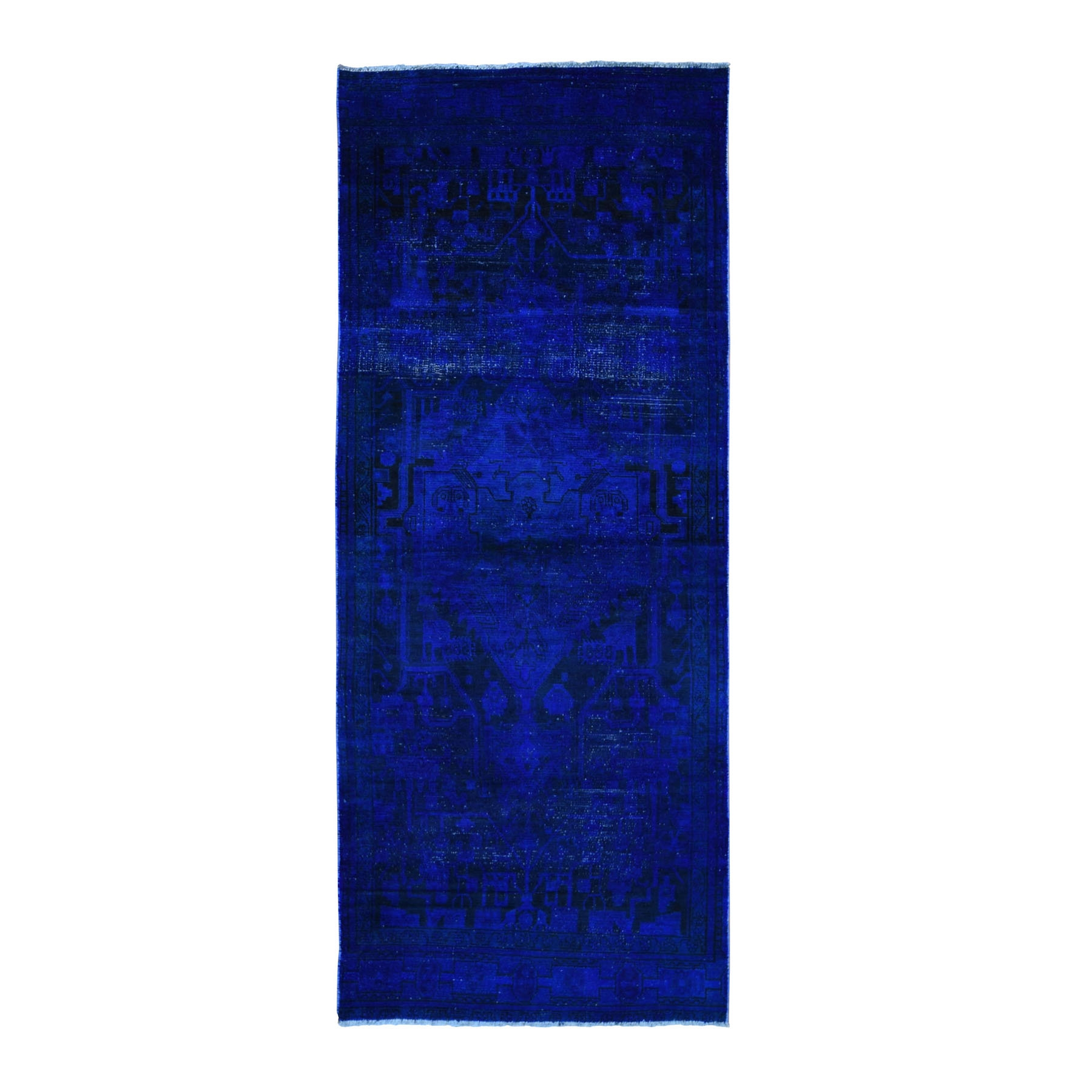 Fetneh Collection And Vintage Overdyed Collection Hand Knotted Blue Rug No: 1118390