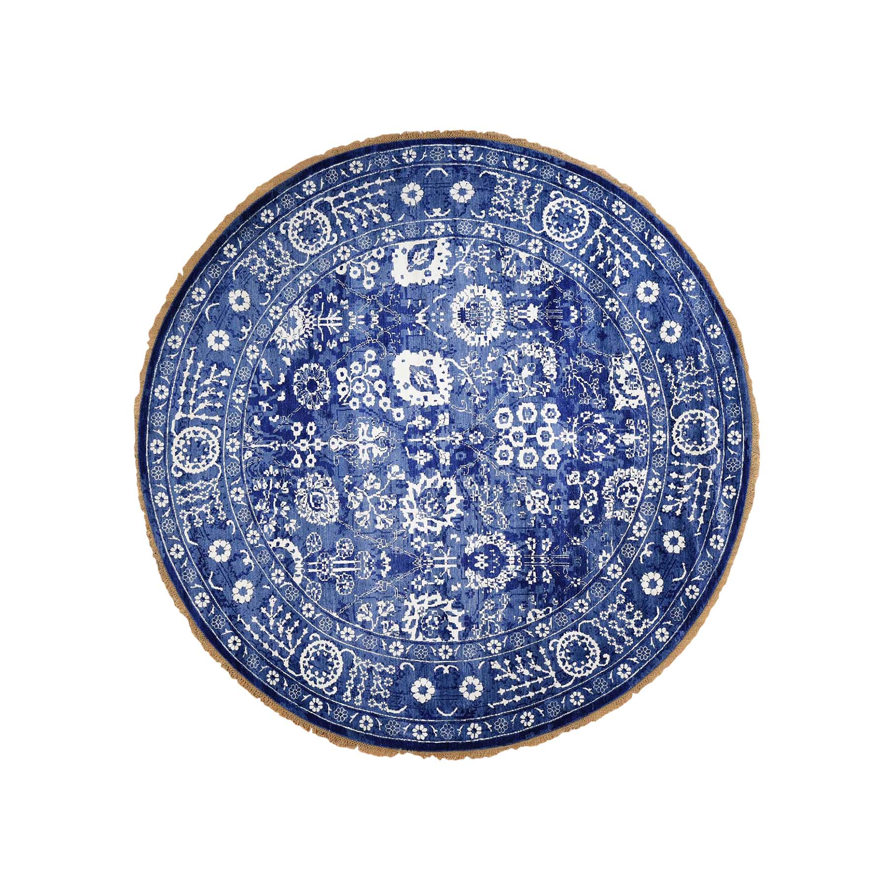 Mid Century Modern Collection Hand Knotted Blue Rug No: 0183016