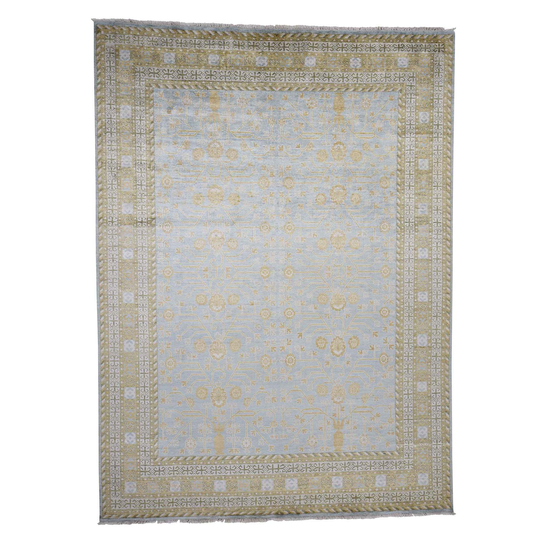 One of a kind Collection Hand Knotted Blue Rug No: 0182924