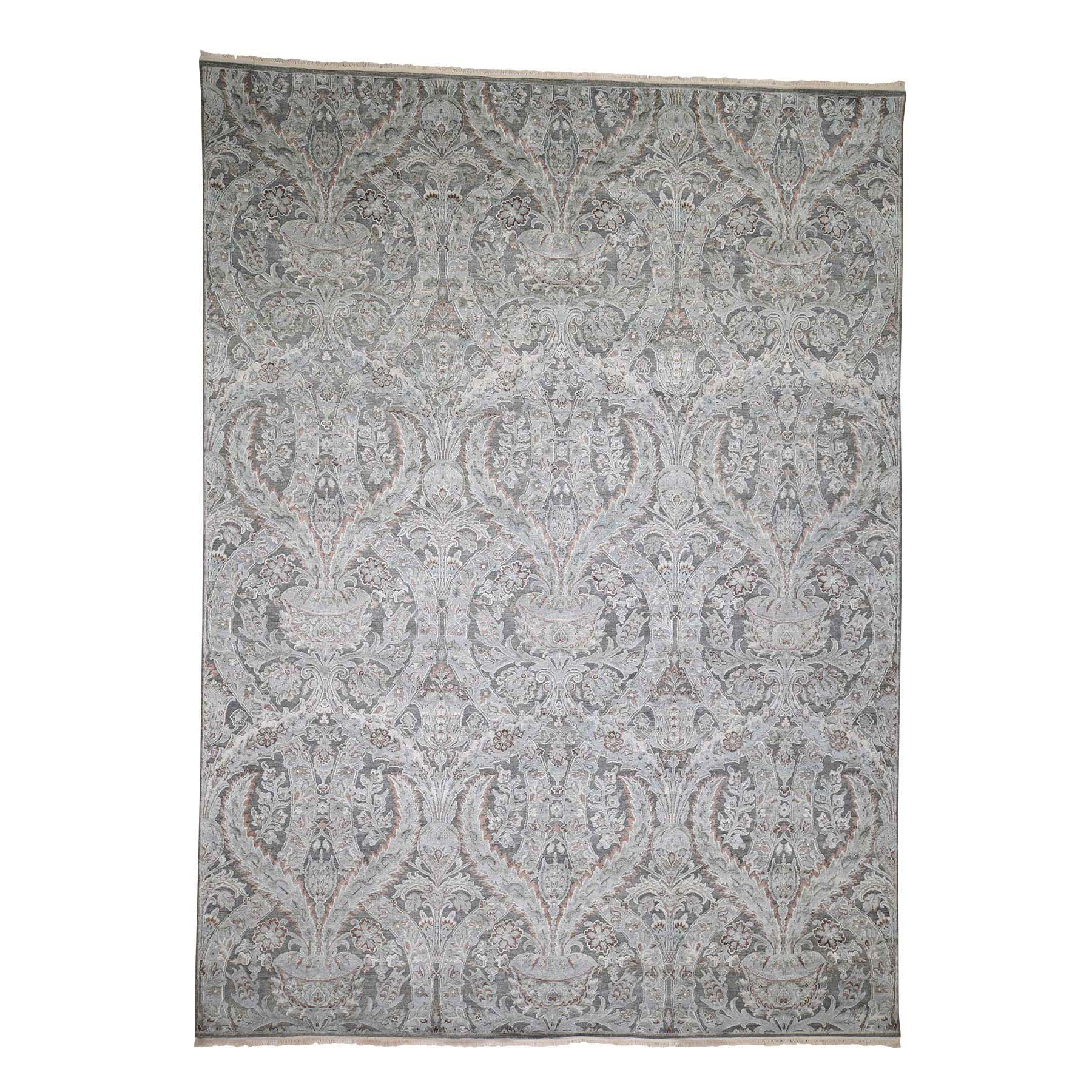 Wool and Real Silk Collection Hand Knotted Grey Rug No: 0182968