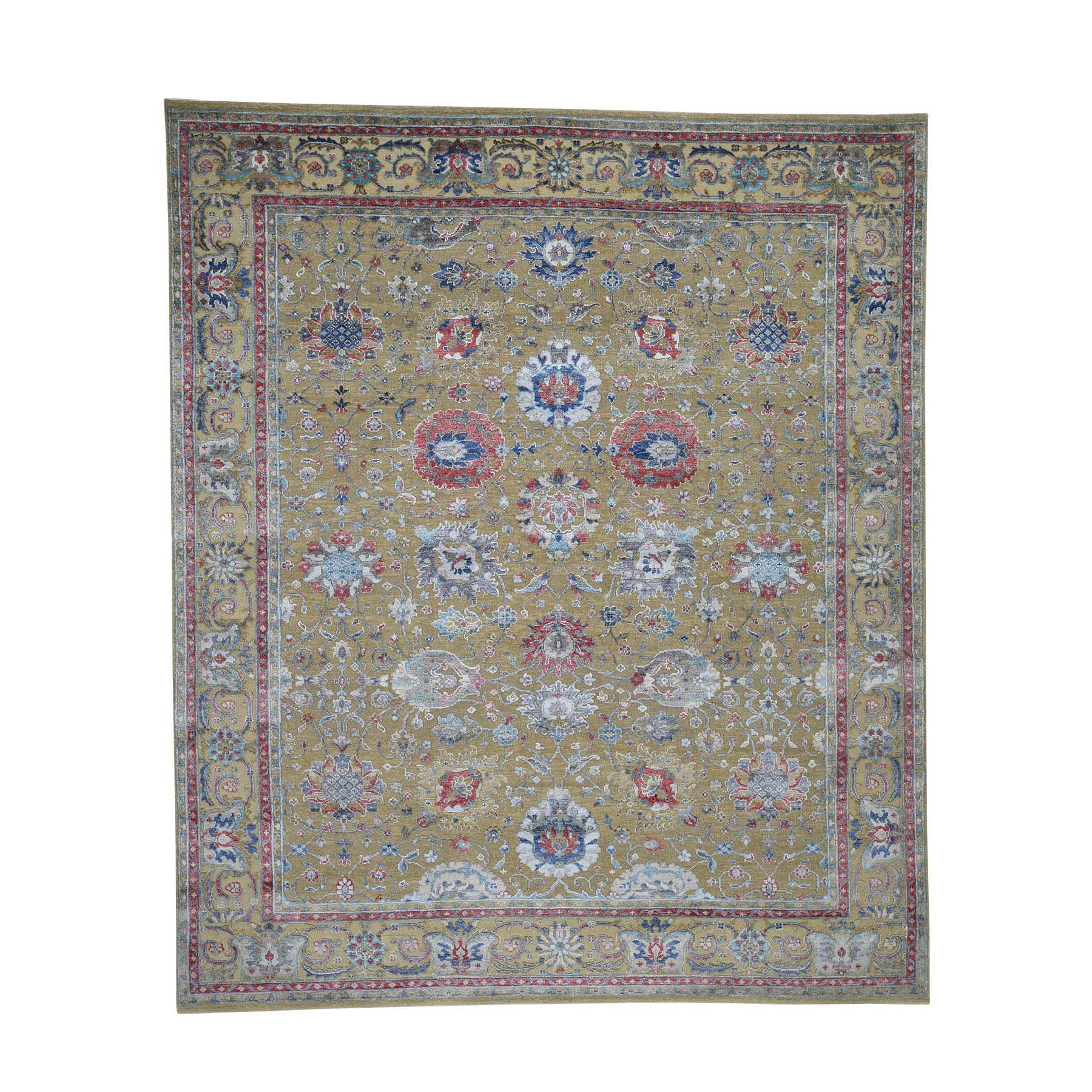 Wool and Real Silk Collection Hand Knotted Teal Rug No: 0183684