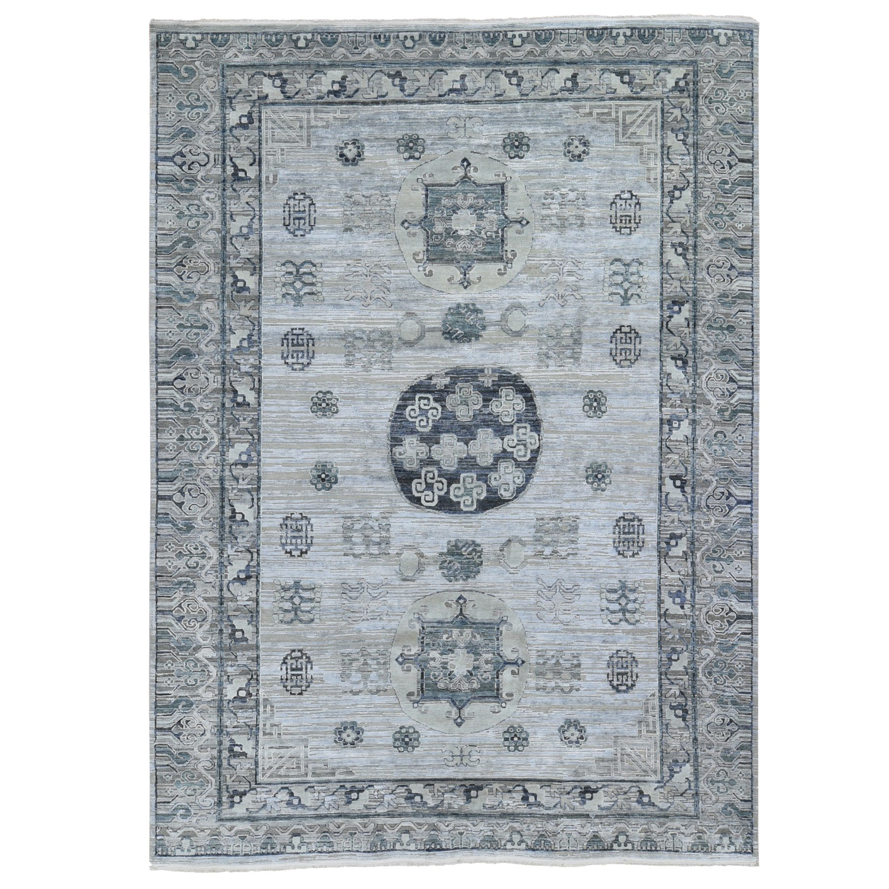 Wool and Real Silk Collection Hand Knotted Grey Rug No: 1118740