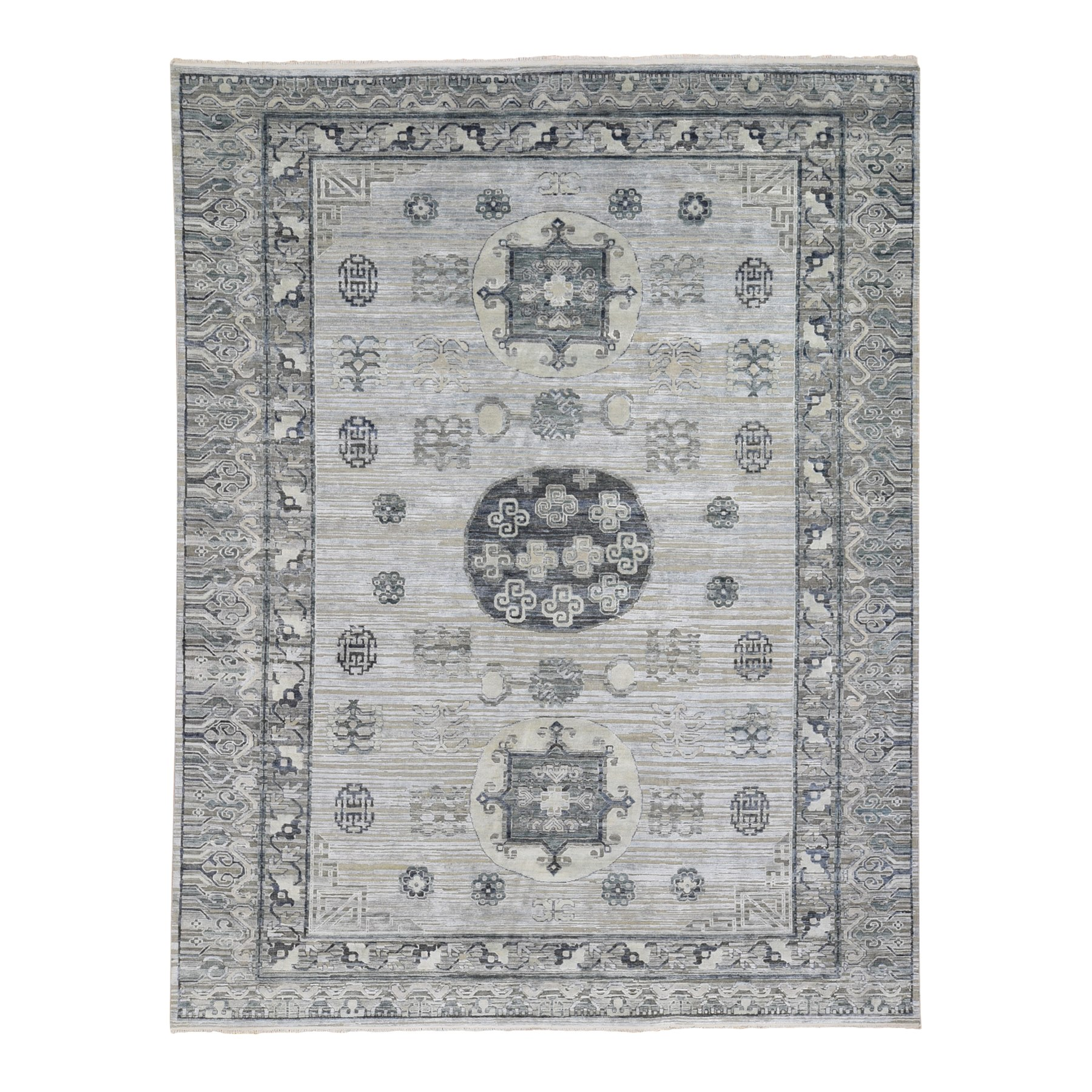 Wool and Real Silk Collection Hand Knotted Grey Rug No: 1118872