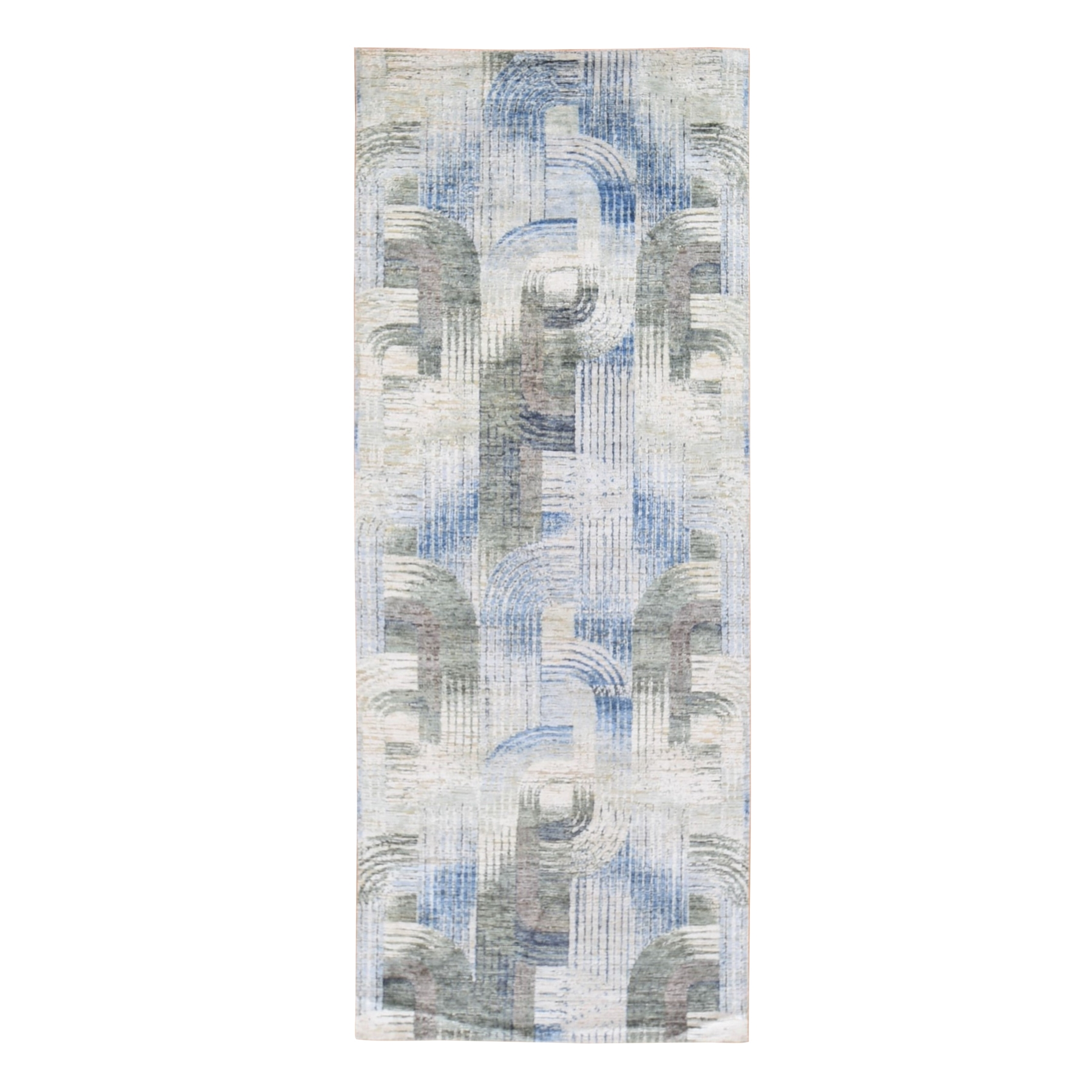 Mid Century Modern Collection Hand Knotted Ivory Rug No: 1118964