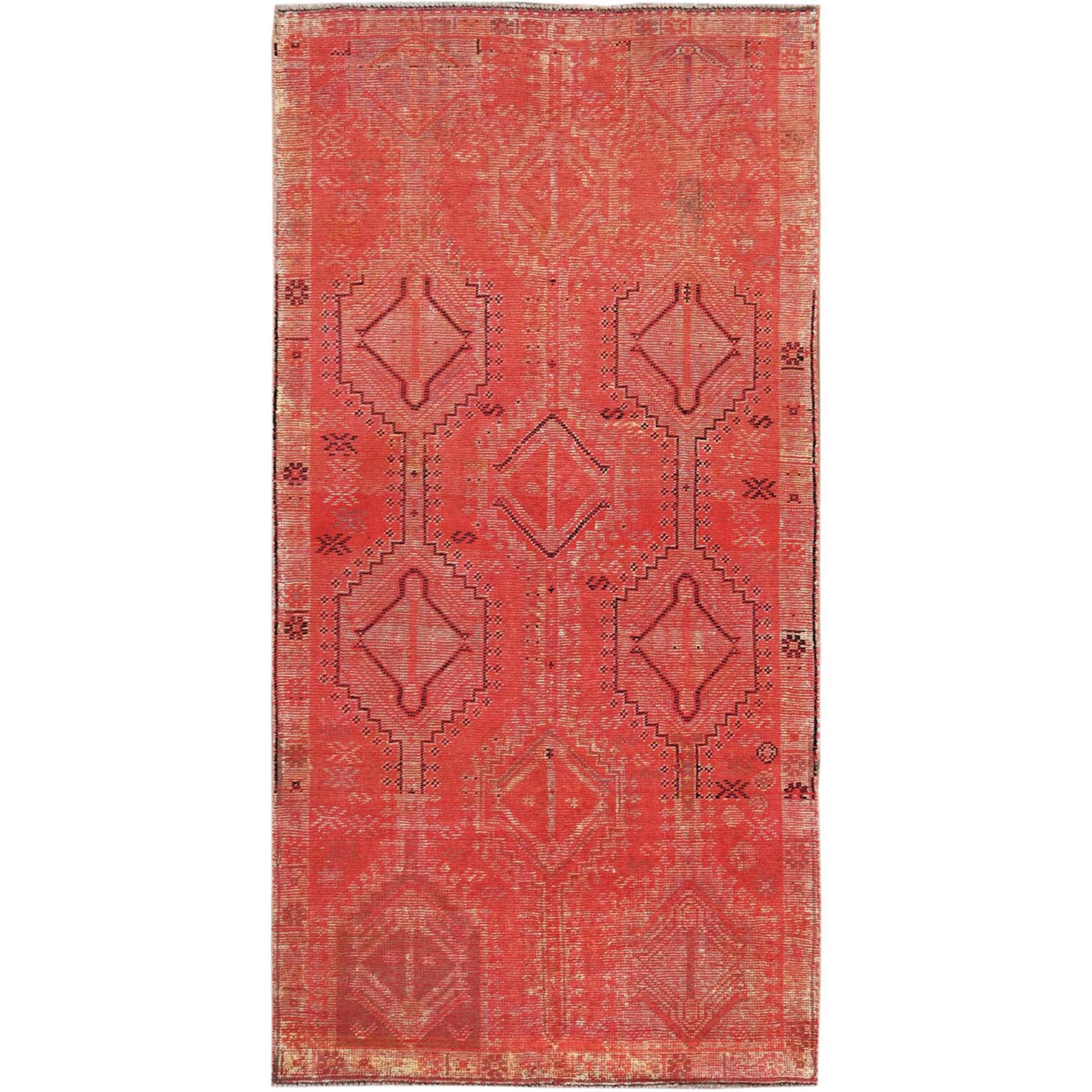 Fetneh Collection And Vintage Overdyed Collection Hand Knotted Red Rug No: 1115496