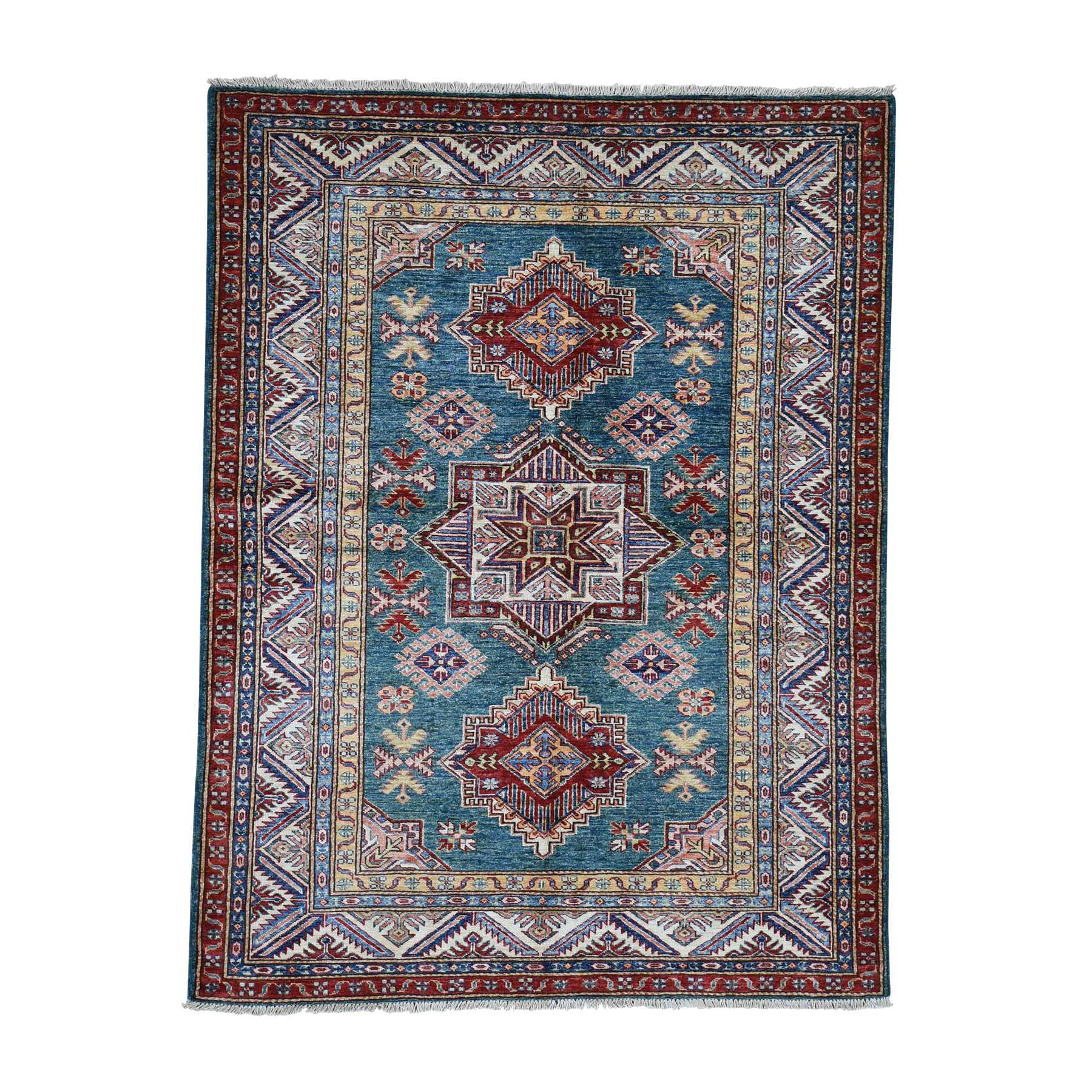 Caucasian Collection Hand Knotted Teal Rug No: 0185544