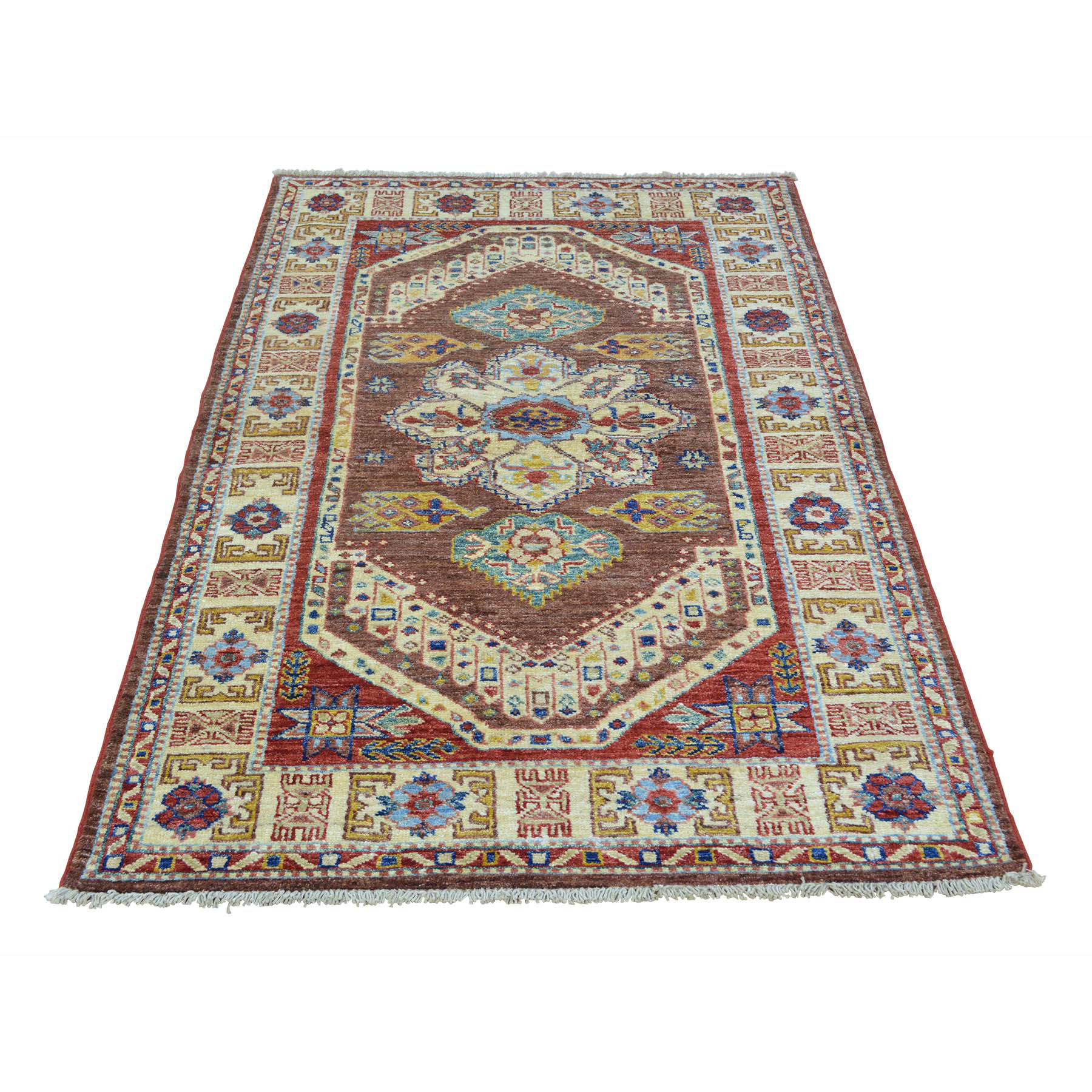 Caucasian Collection Hand Knotted Brown Rug No: 0153968