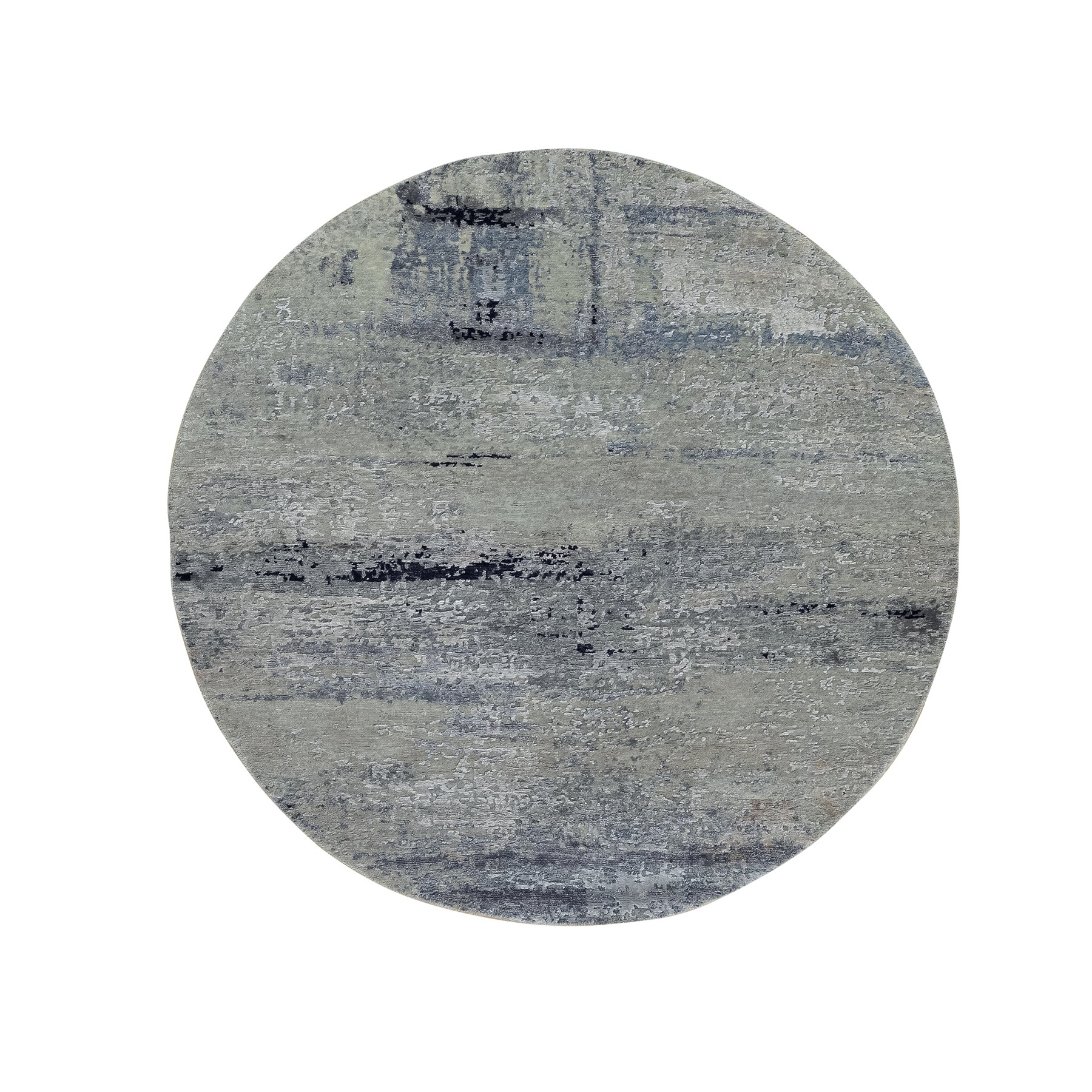 Mid Century Modern Collection Hand Knotted Blue Rug No: 1117772