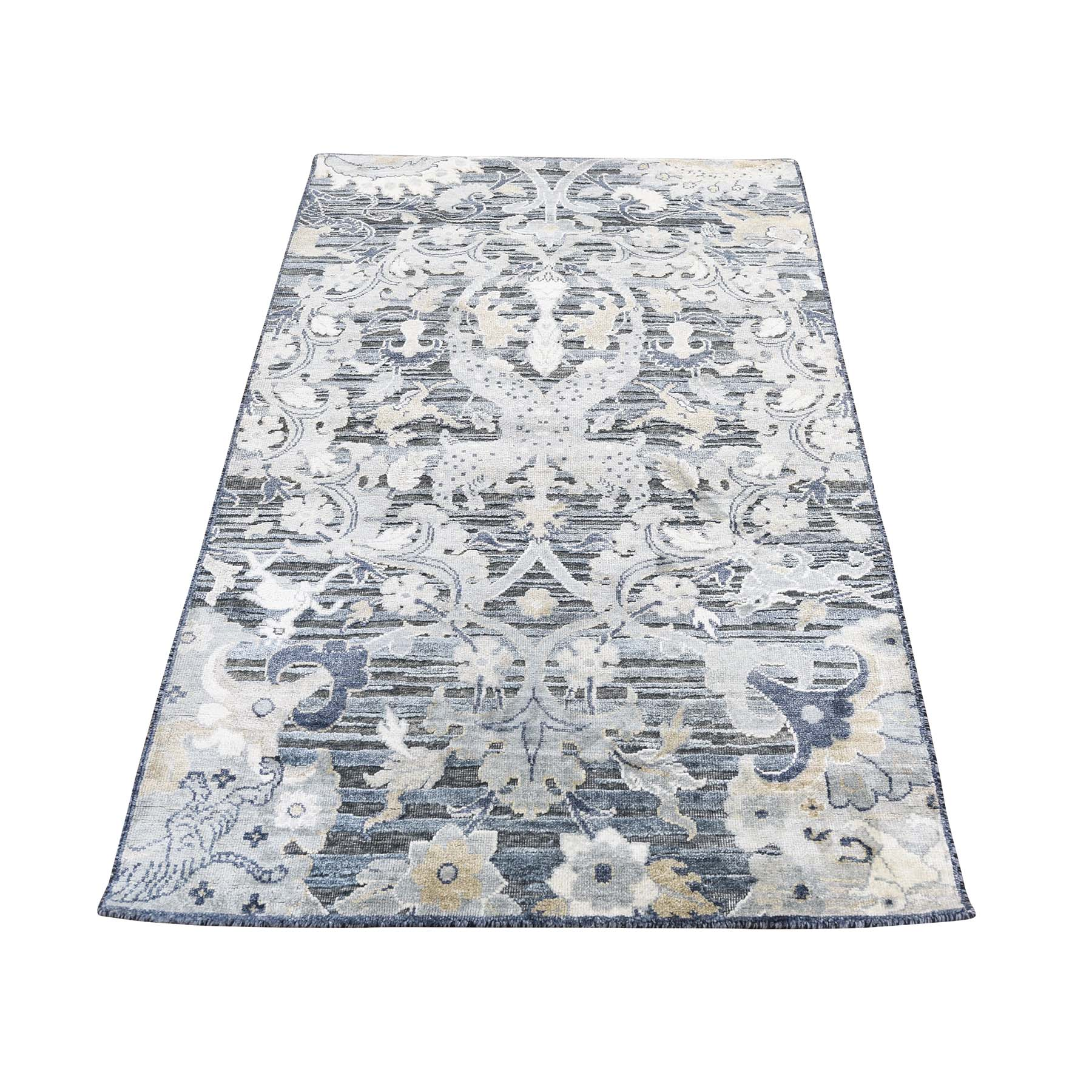 Mid Century Modern Collection Hand Knotted Grey Rug No: 0186470