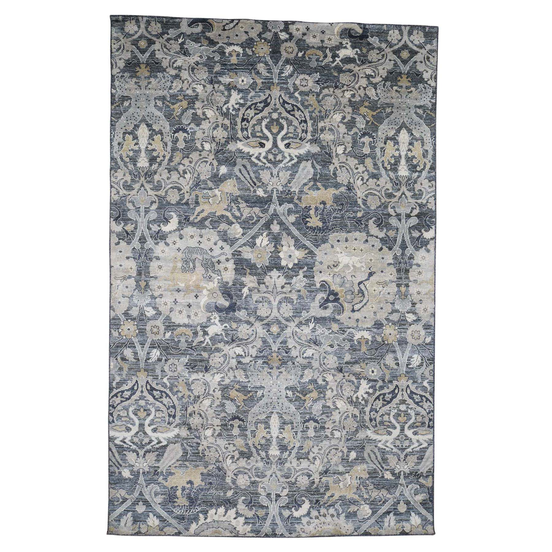 Mid Century Modern Collection Hand Knotted Blue Rug No: 0186492