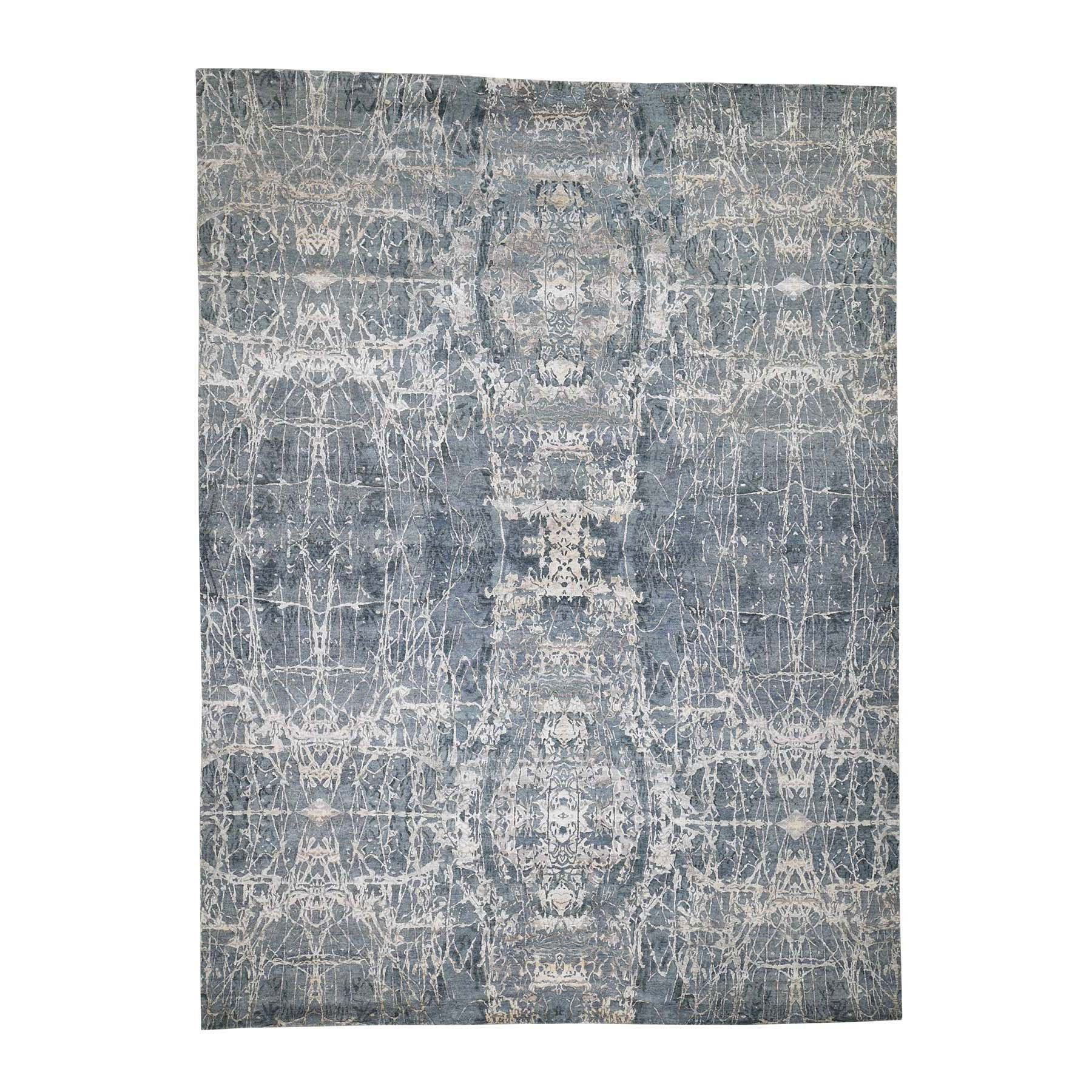 Mid Century Modern Collection Hand Knotted Grey Rug No: 0186834