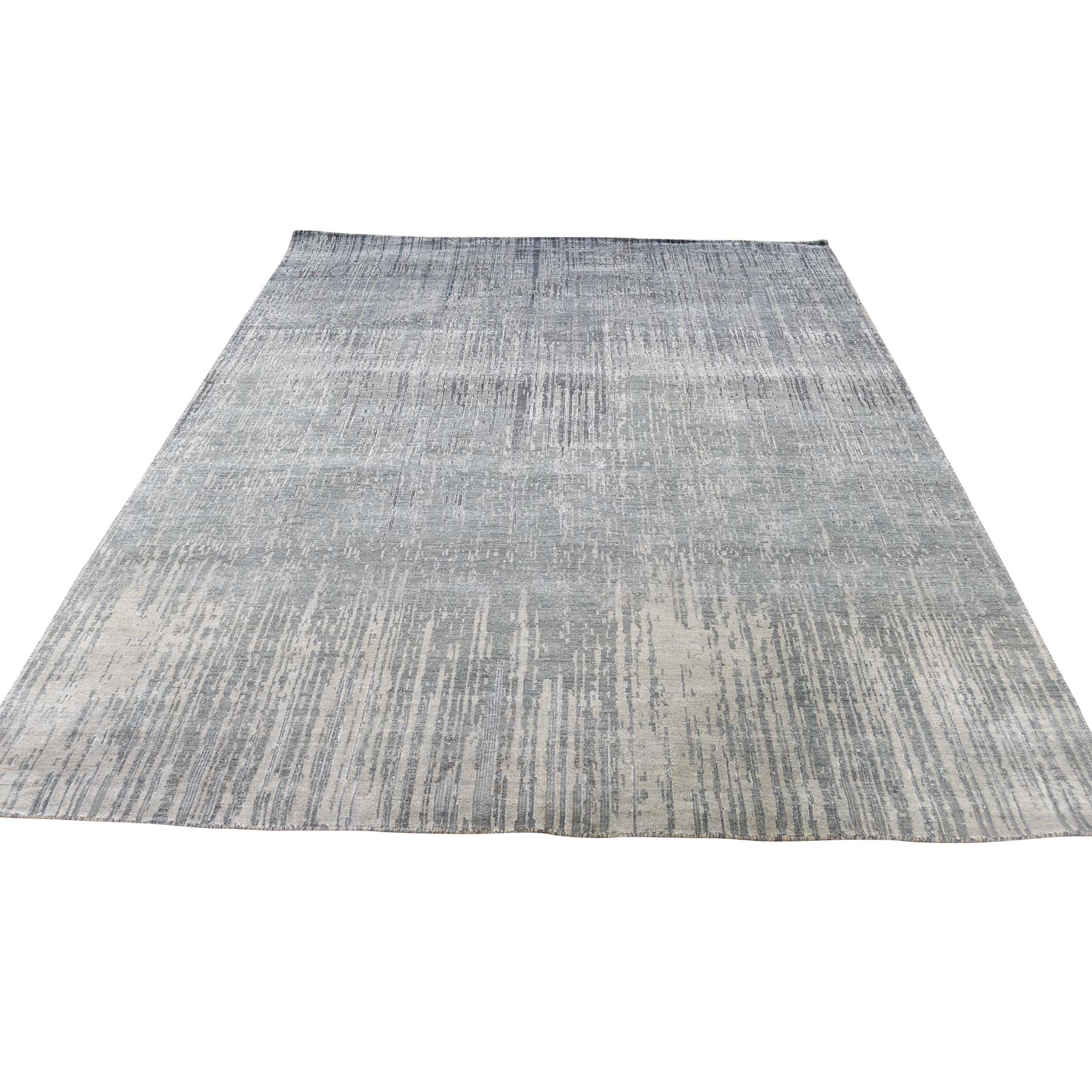 Mid Century Modern Collection Hand Knotted Grey Rug No: 0186824