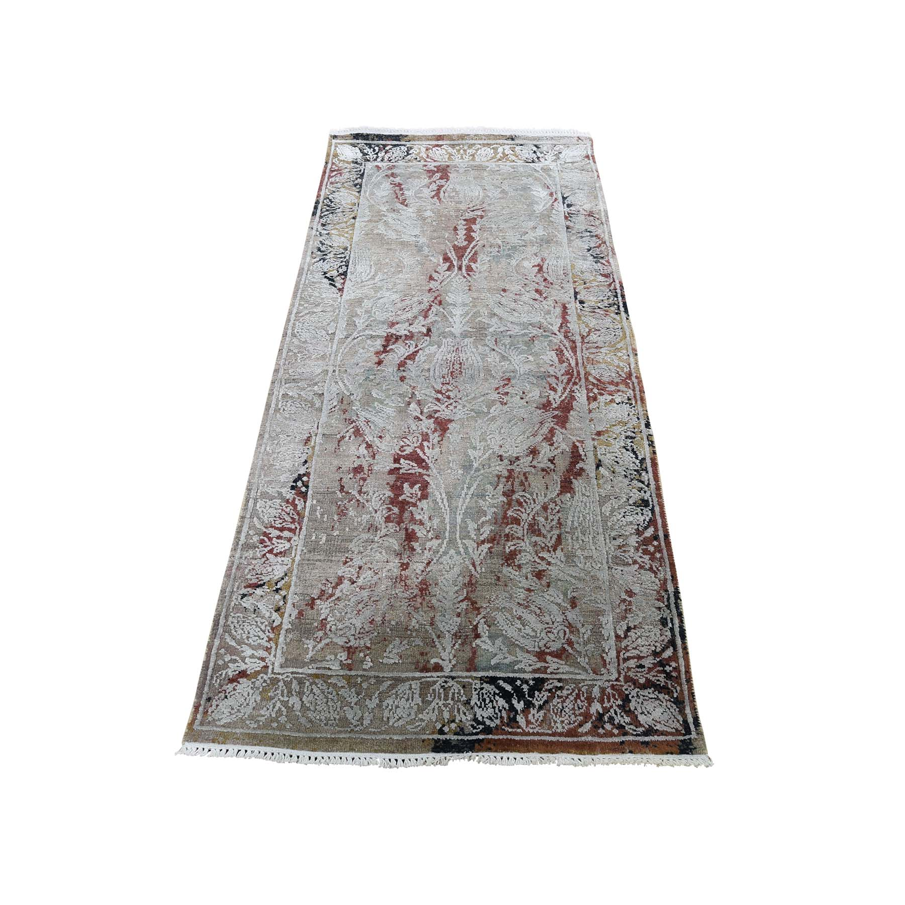 Mid Century Modern Collection Hand Knotted Green Rug No: 0186880