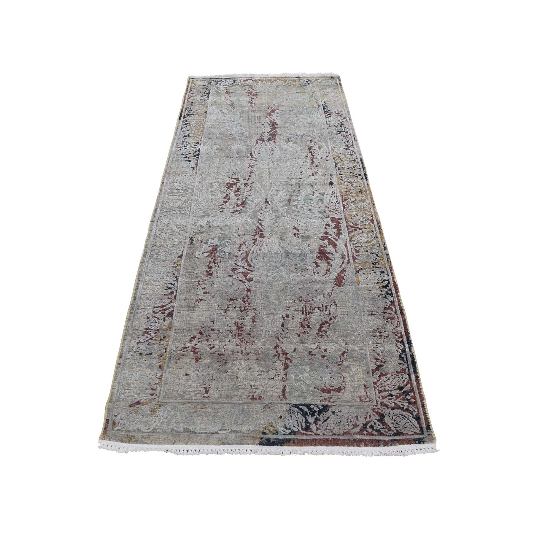 Mid Century Modern Collection Hand Knotted Brown Rug No: 0186886
