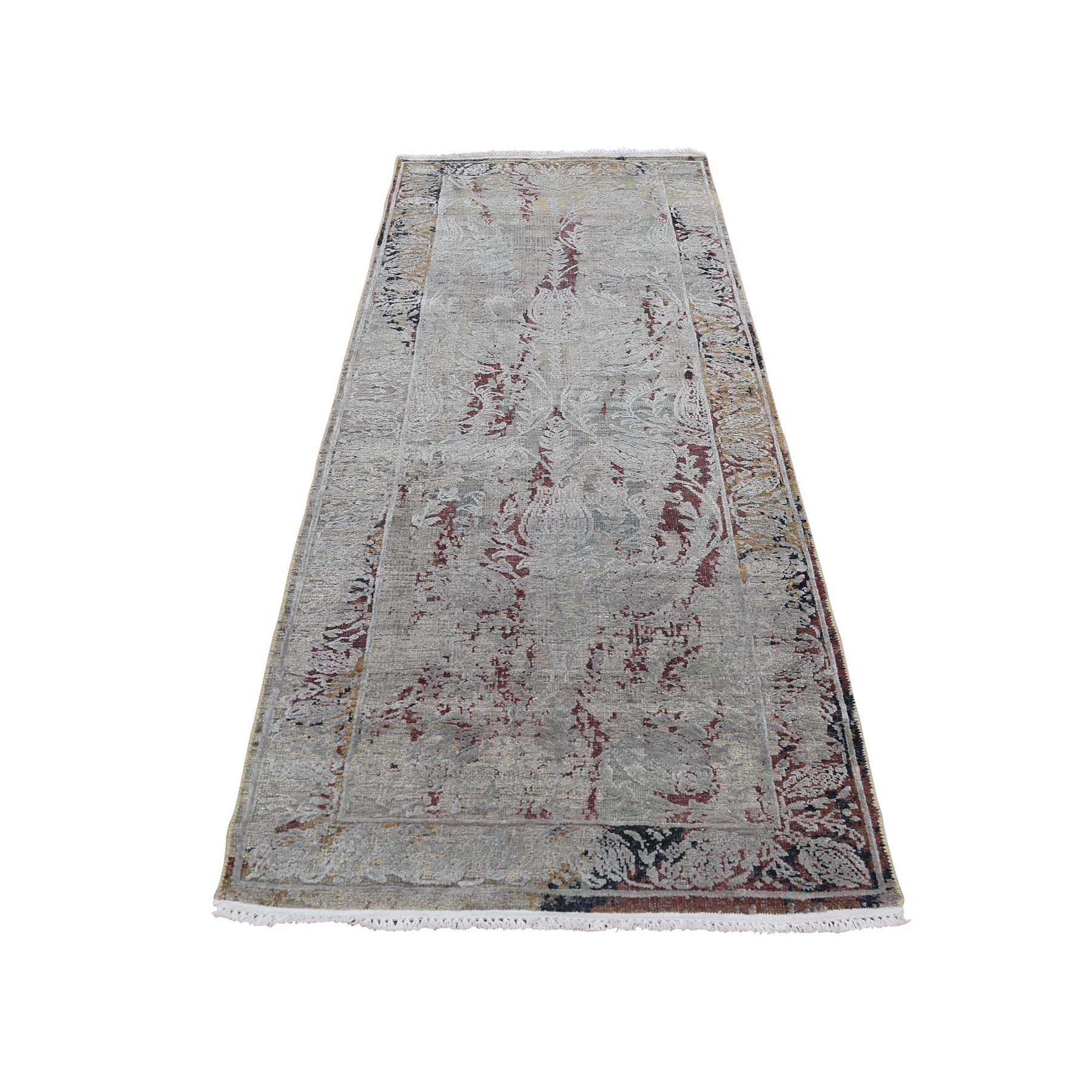 Mid Century Modern Collection Hand Knotted Brown Rug No: 0186888
