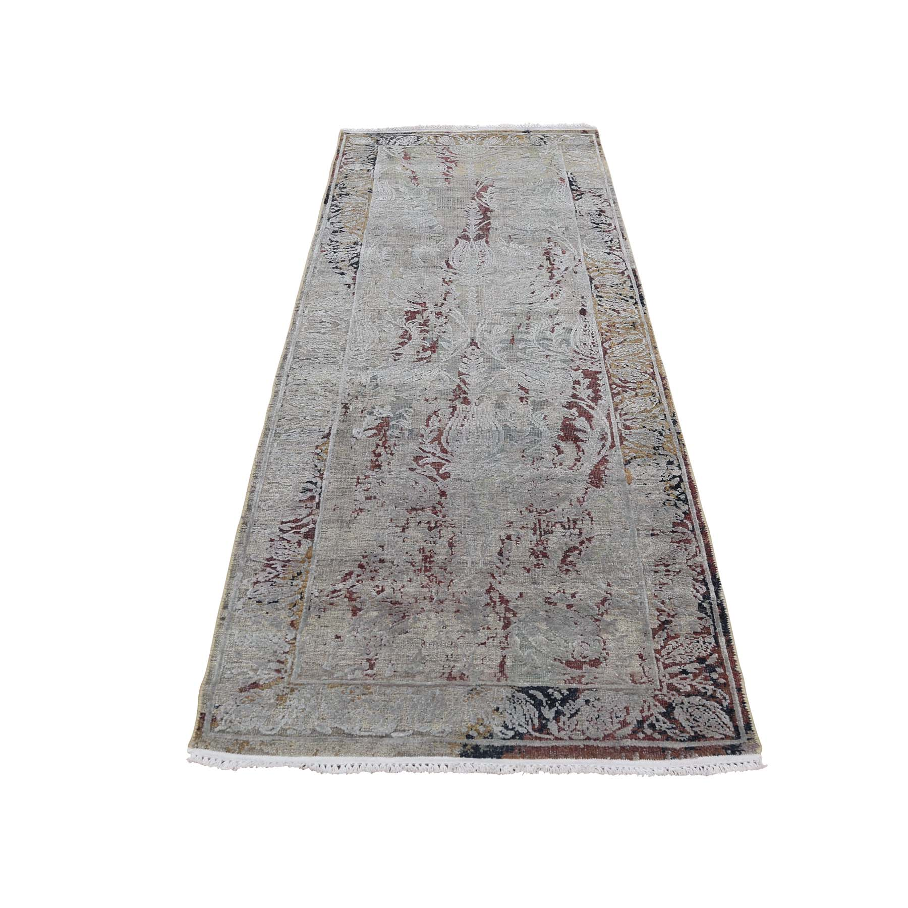 Mid Century Modern Collection Hand Knotted Brown Rug No: 0186890