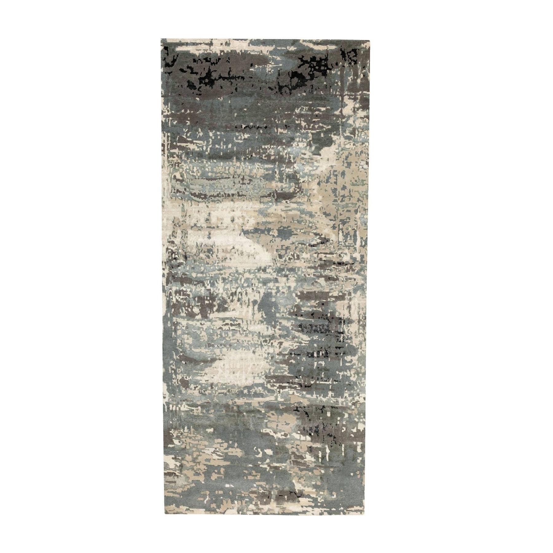 Mid Century Modern Collection Hand Knotted Grey Rug No: 1124050