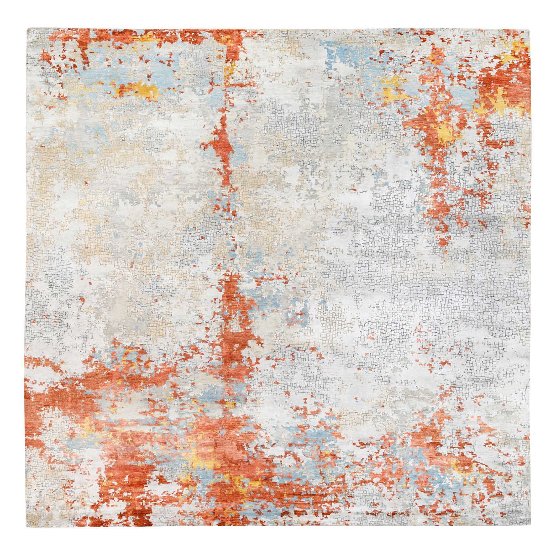 Mid Century Modern Collection Hand Knotted Grey Rug No: 1124320