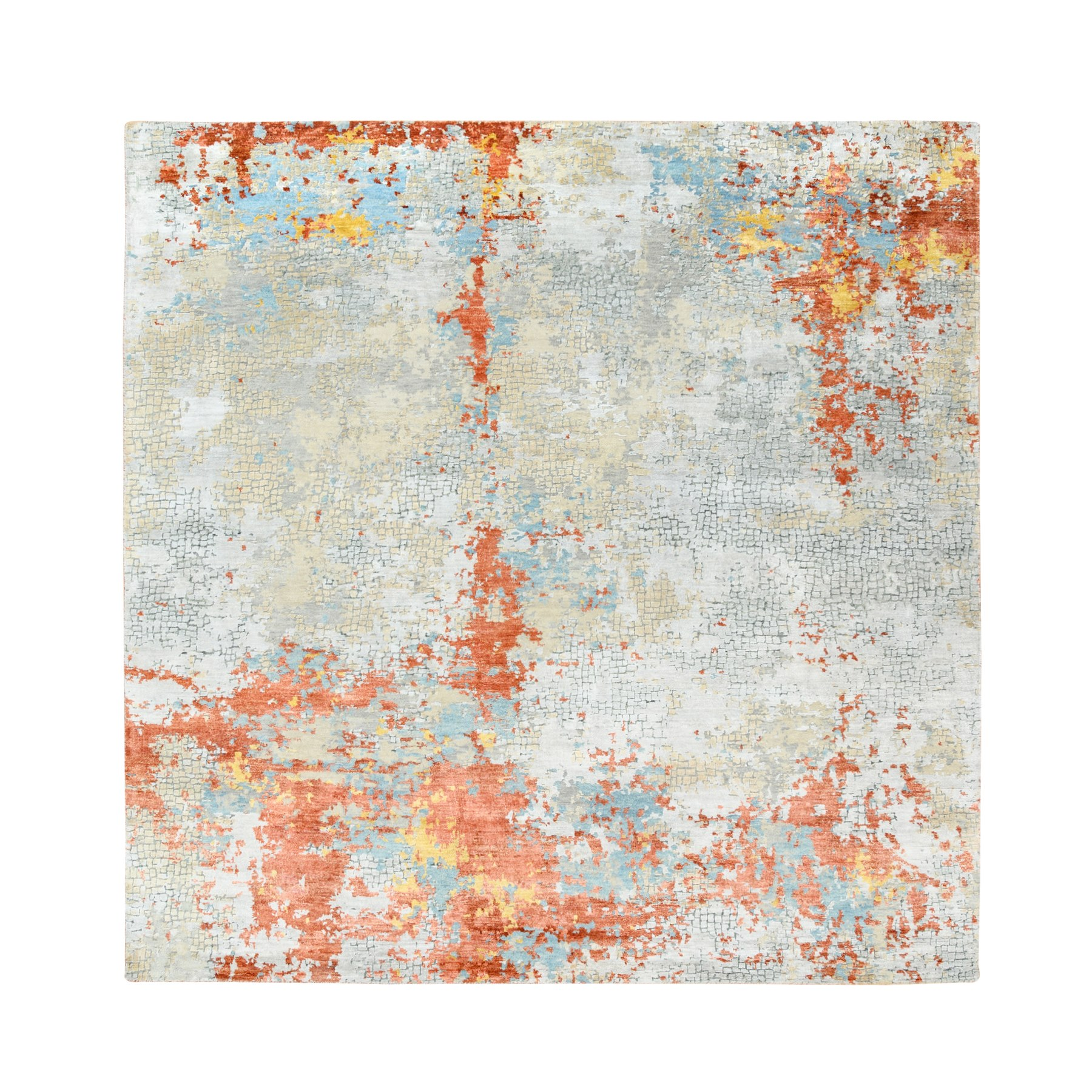Mid Century Modern Collection Hand Knotted Grey Rug No: 1124318