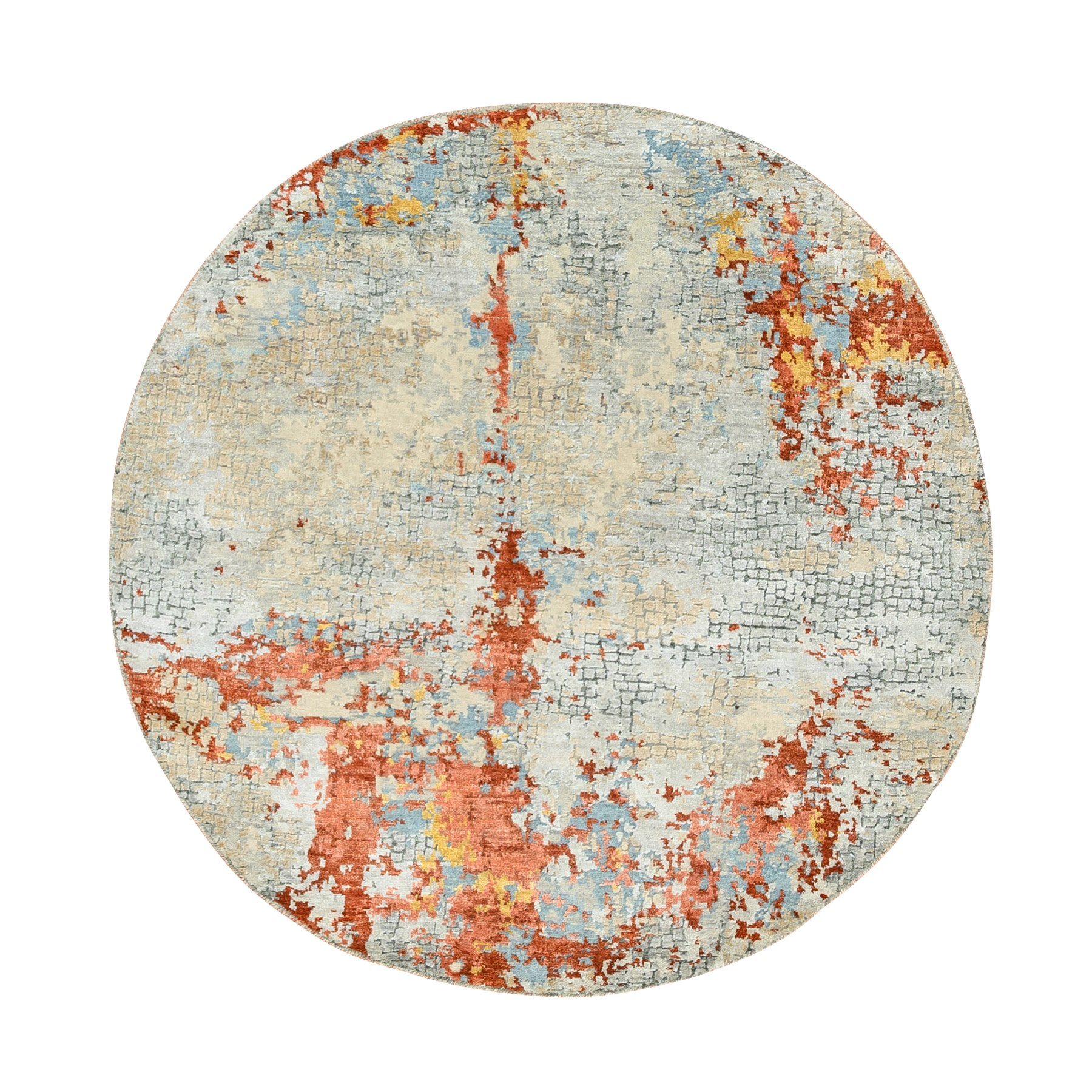 Mid Century Modern Collection Hand Knotted Grey Rug No: 1124278