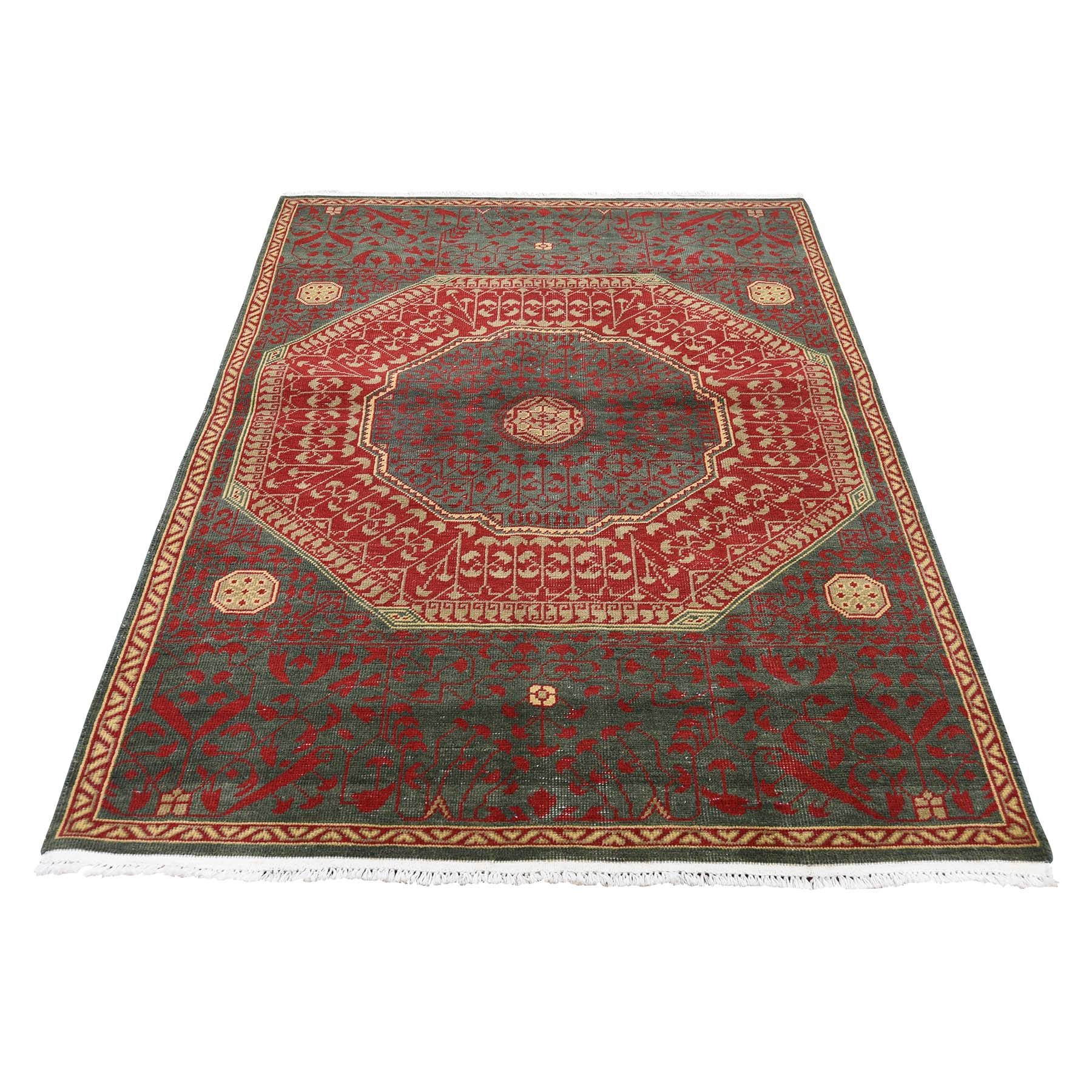 Intricate Collection Hand Knotted Green Rug No: 0188160