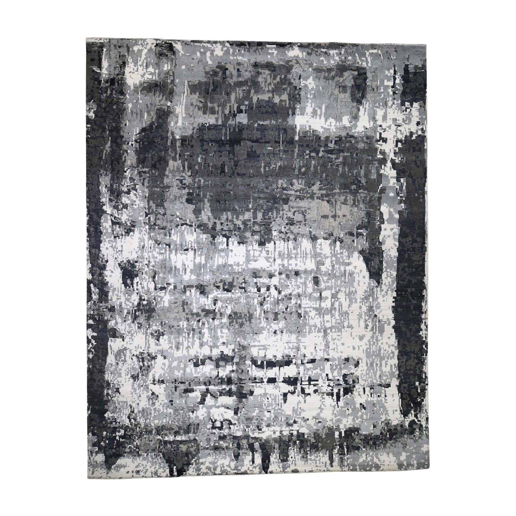 Mid Century Modern Collection Hand Knotted Grey Rug No: 0188406