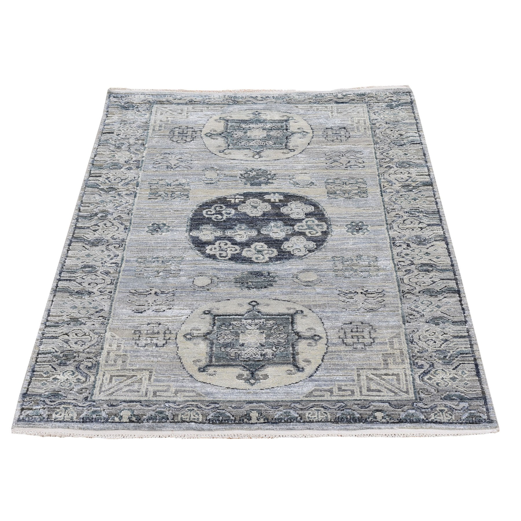 Wool and Real Silk Collection Hand Knotted Grey Rug No: 1119910