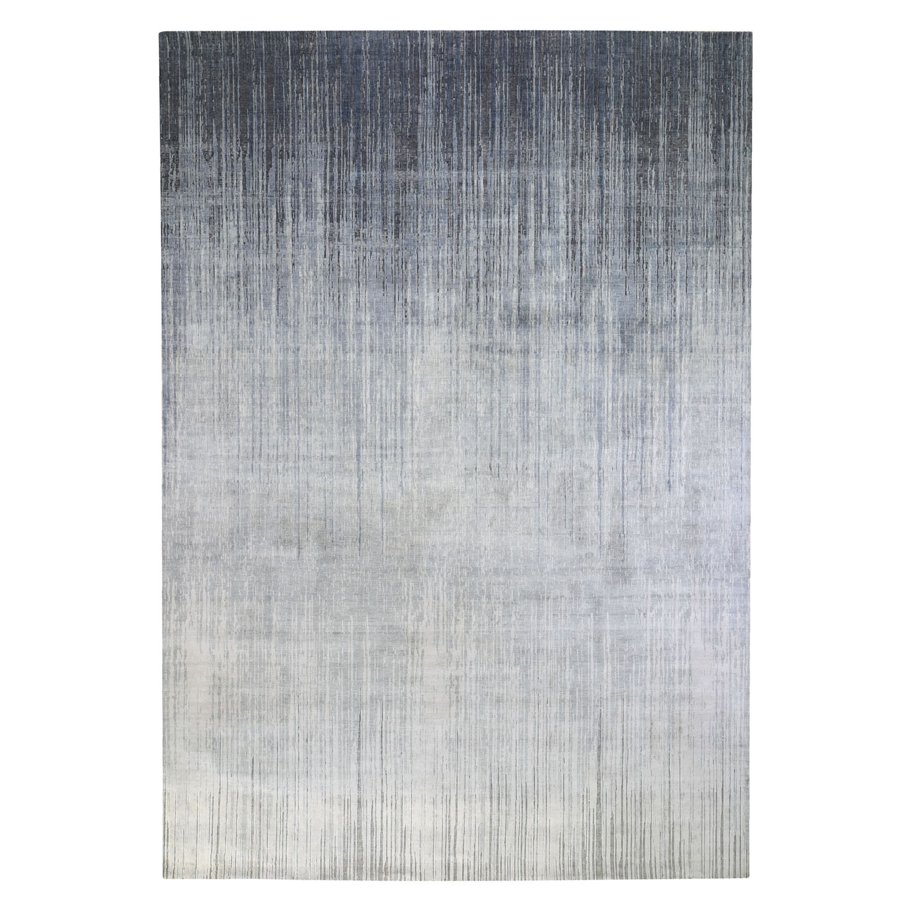Mid Century Modern Collection Hand Knotted Grey Rug No: 1119892