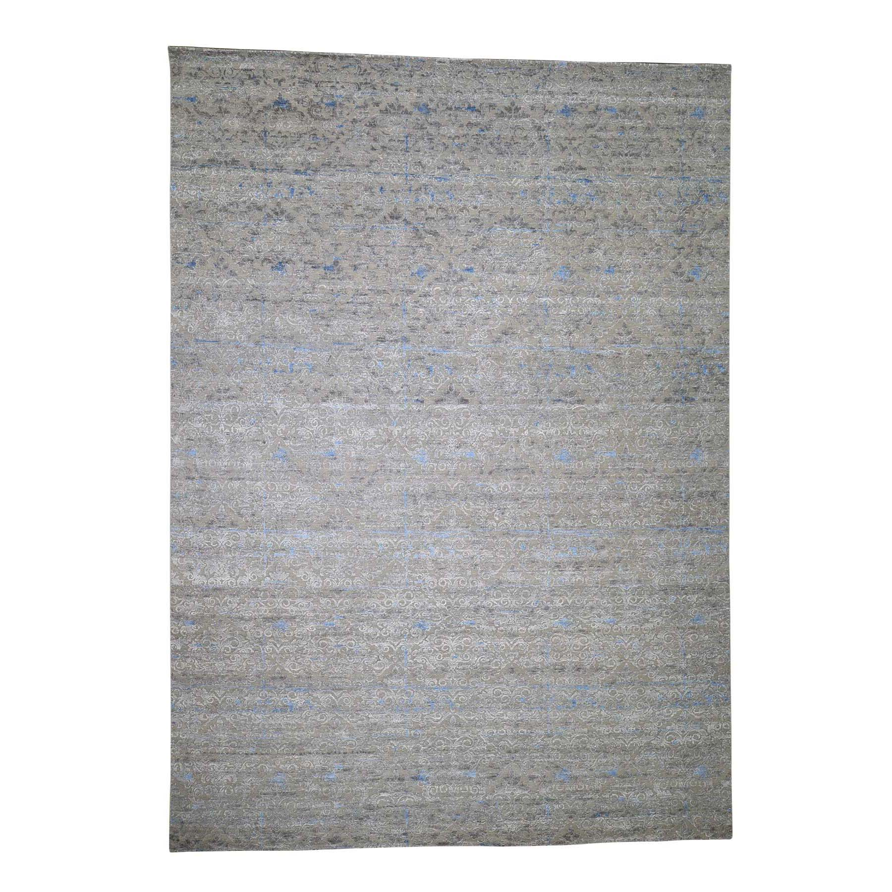 Wool and Real Silk Collection Hand Knotted Grey Rug No: 0188422