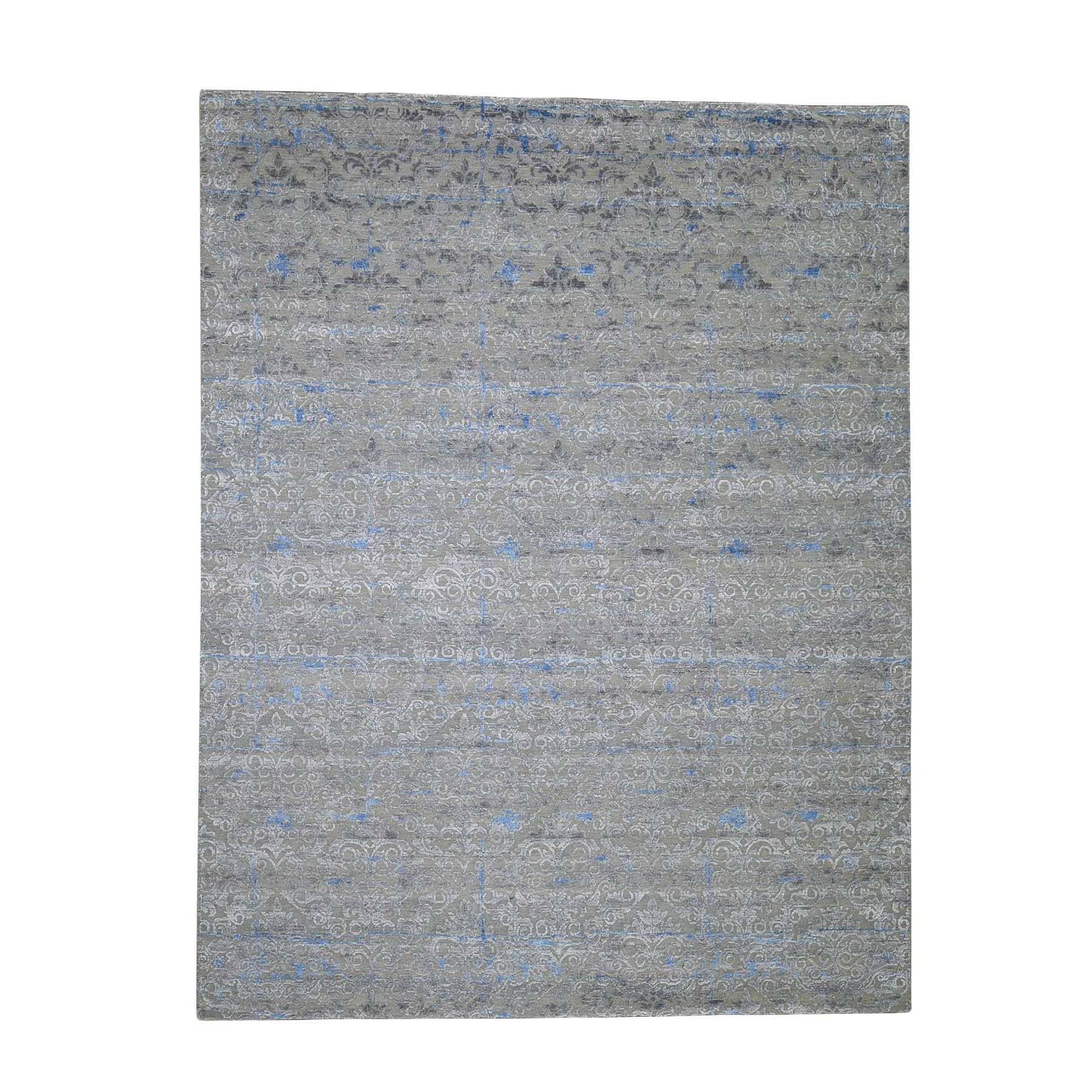Wool and Real Silk Collection Hand Knotted Grey Rug No: 0188424