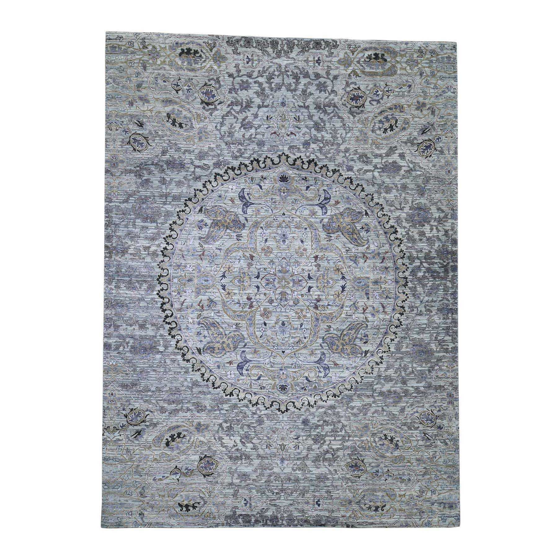 Mid Century Modern Collection Hand Knotted Grey Rug No: 0188434