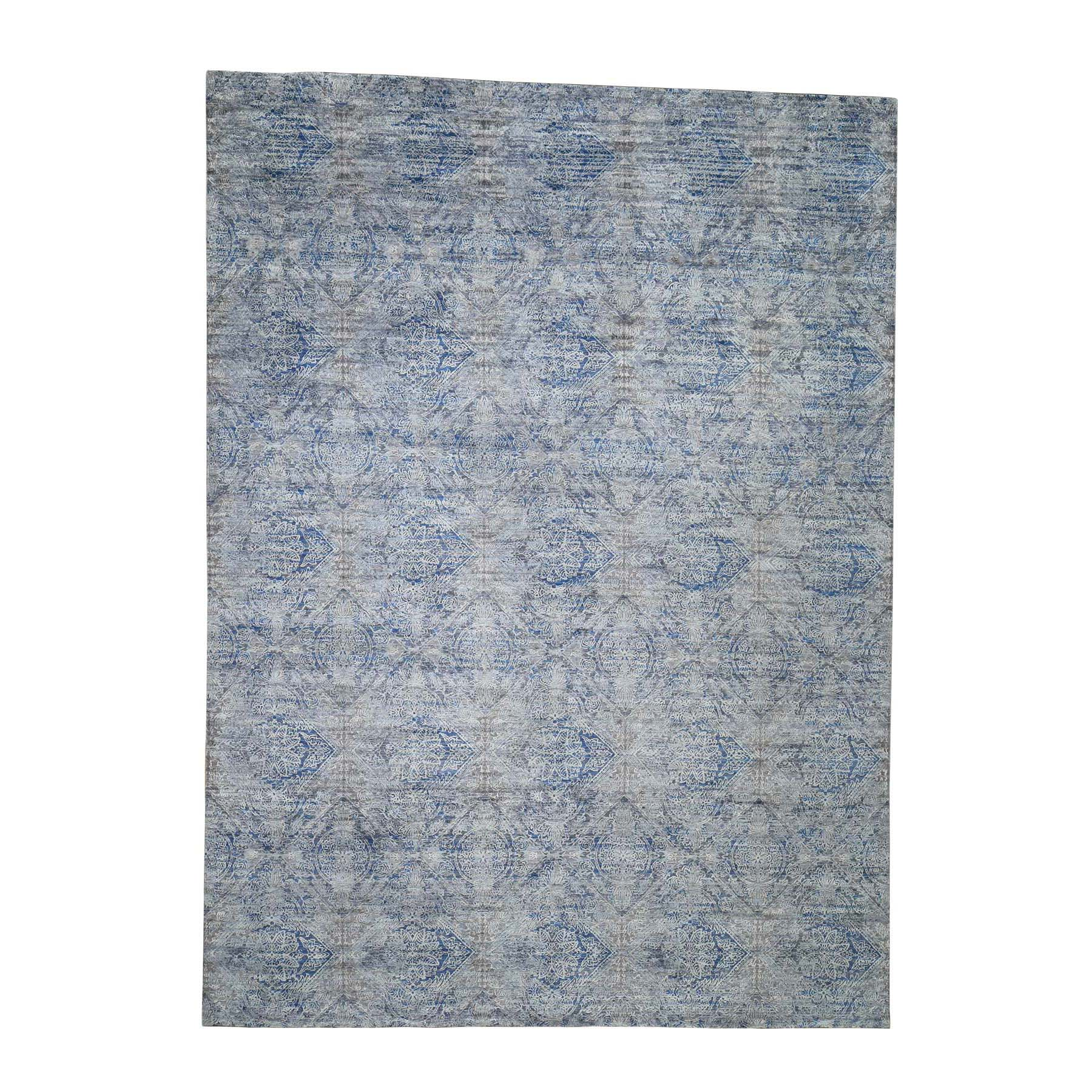 Mid Century Modern Collection Hand Knotted Blue Rug No: 0188438