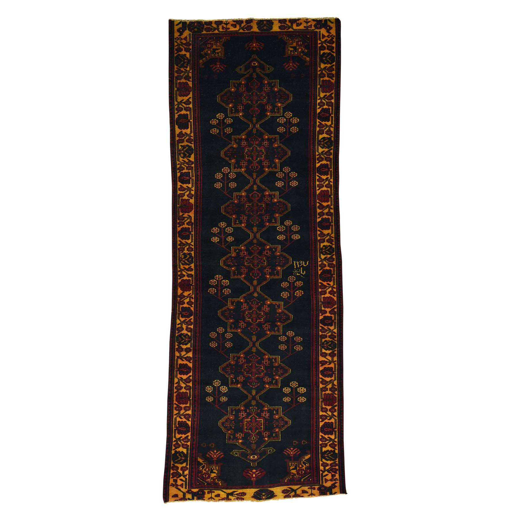 Fetneh Collection And Vintage Overdyed Collection Hand Knotted Blue Rug No: 169712