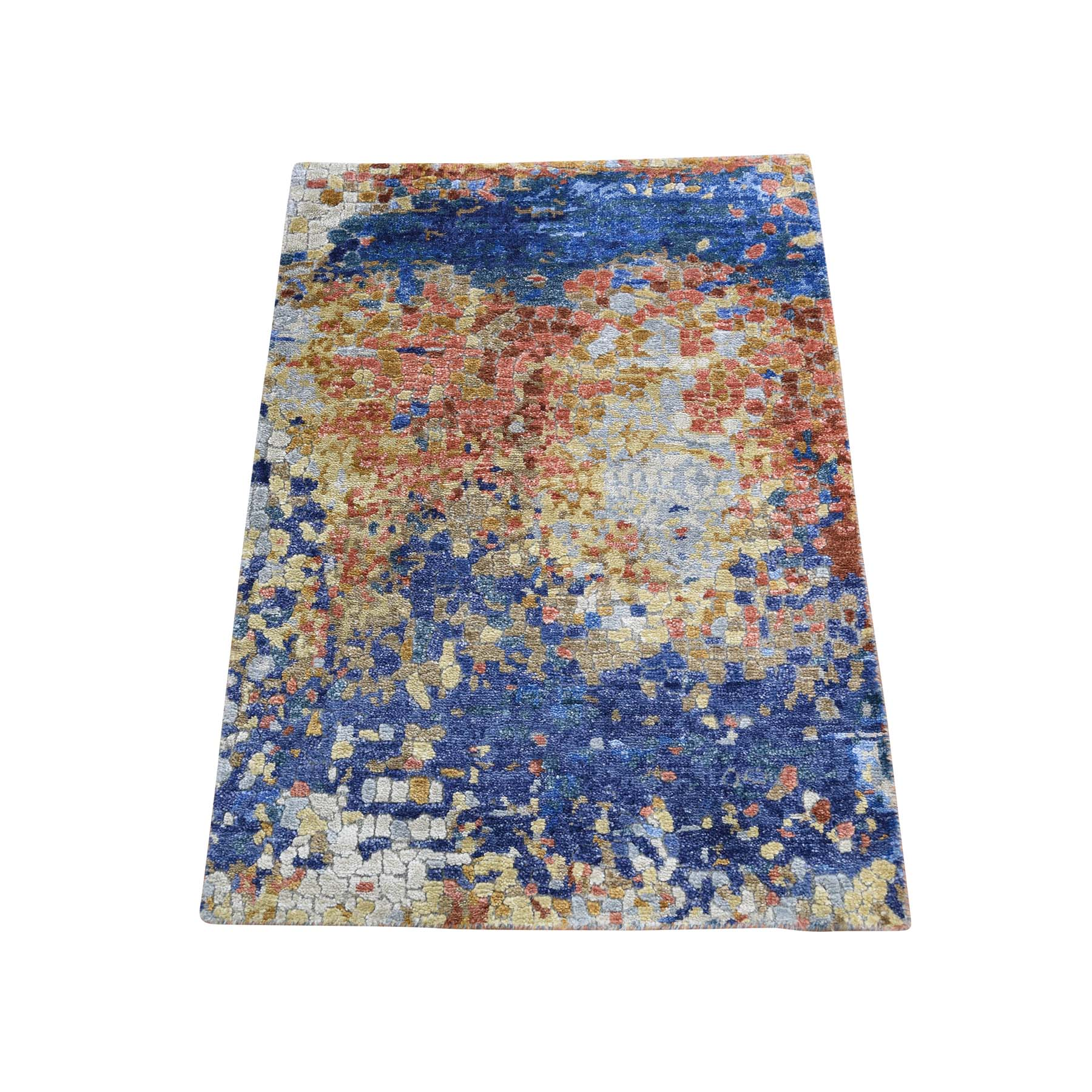 Mid Century Modern Collection Hand Knotted Blue Rug No: 0187764