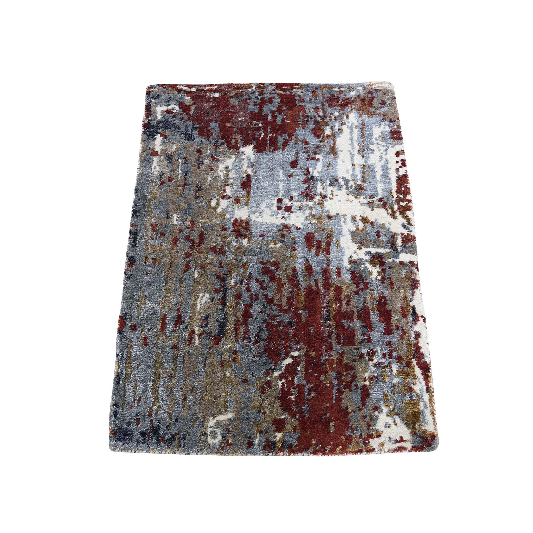 Mid Century Modern Collection Hand Knotted Red Rug No: 0187758