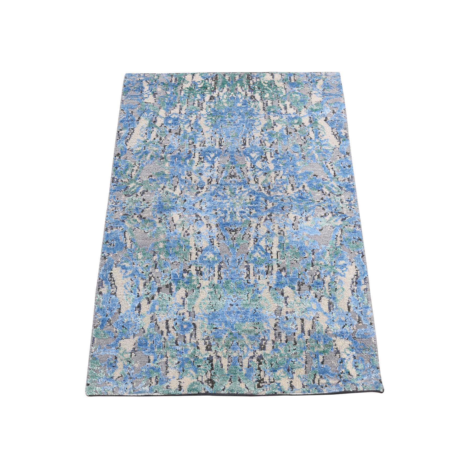 Mid Century Modern Collection Hand Knotted Blue Rug No: 0188880