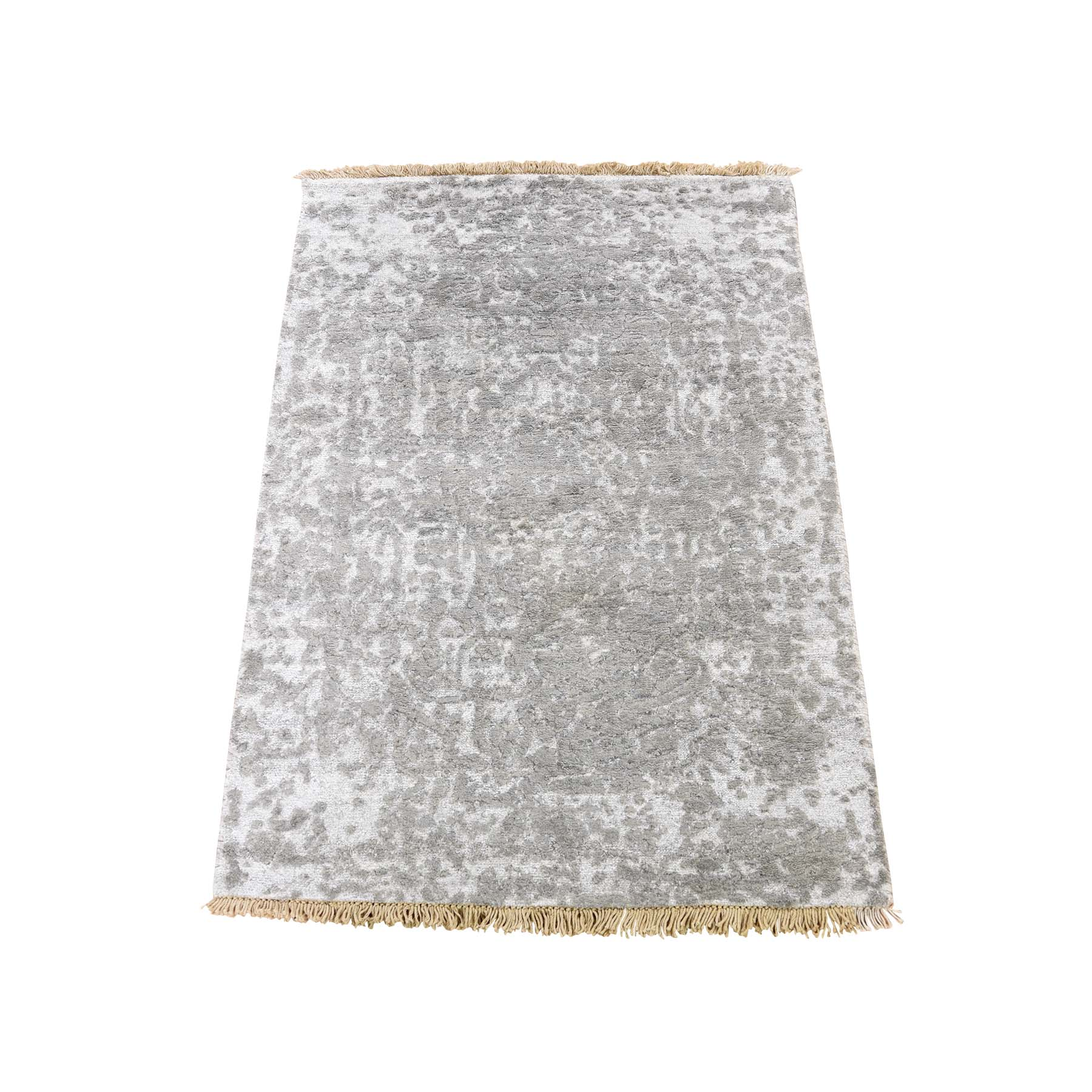 Mid Century Modern Collection Hand Knotted Grey Rug No: 0188874