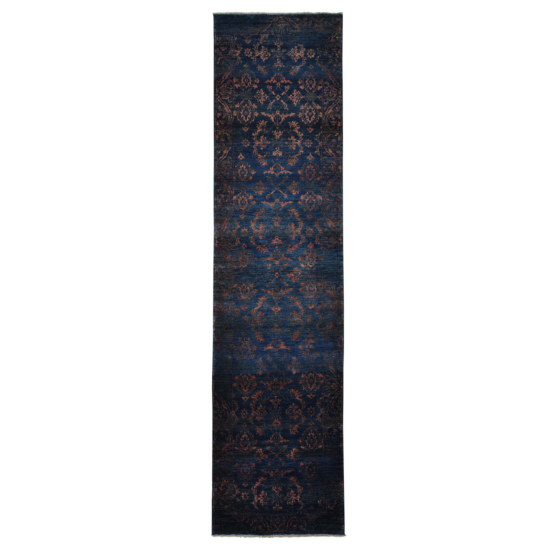 Mid Century Modern Collection Hand Knotted Black Rug No: 0154494