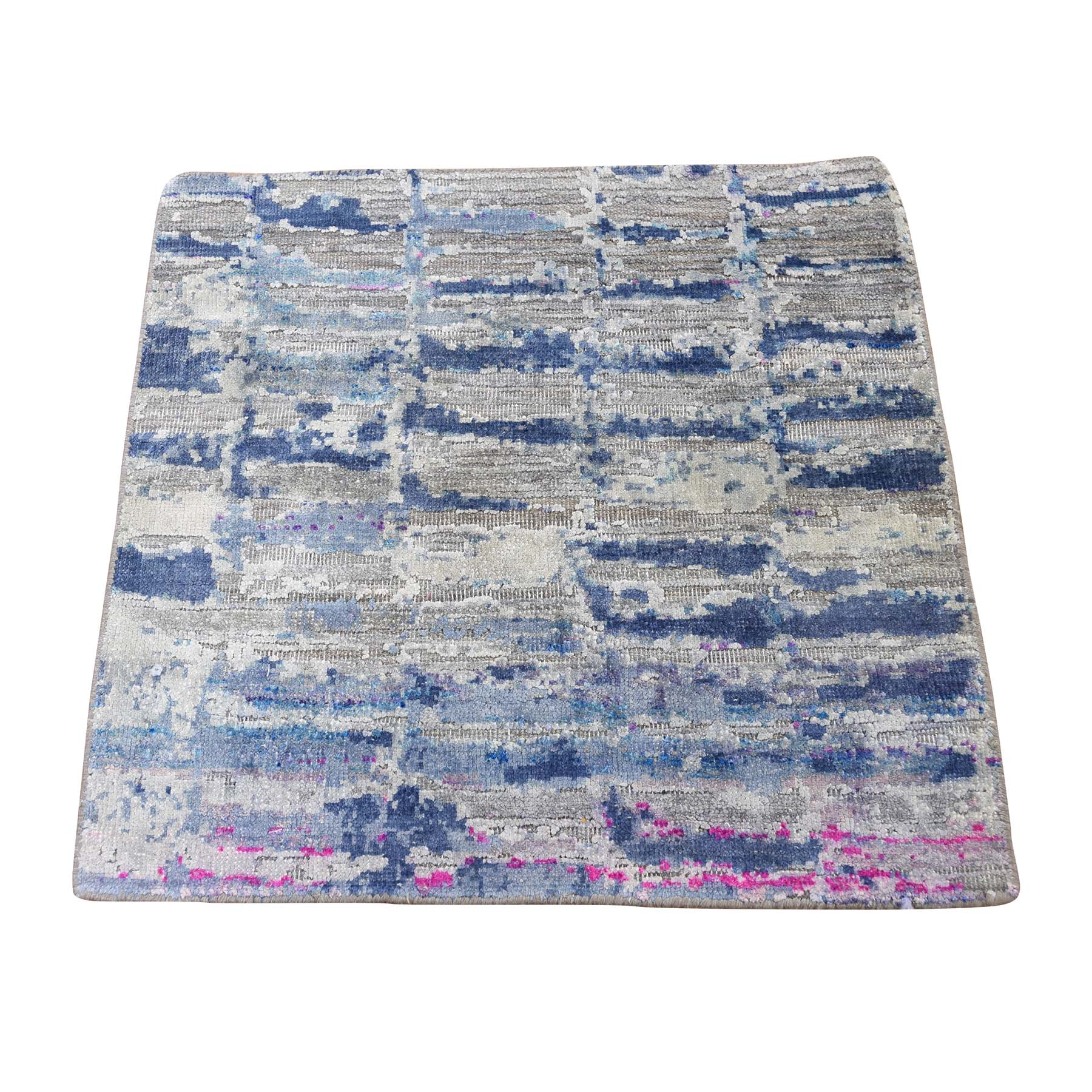 Mid Century Modern Collection Hand Knotted Blue Rug No: 0189312