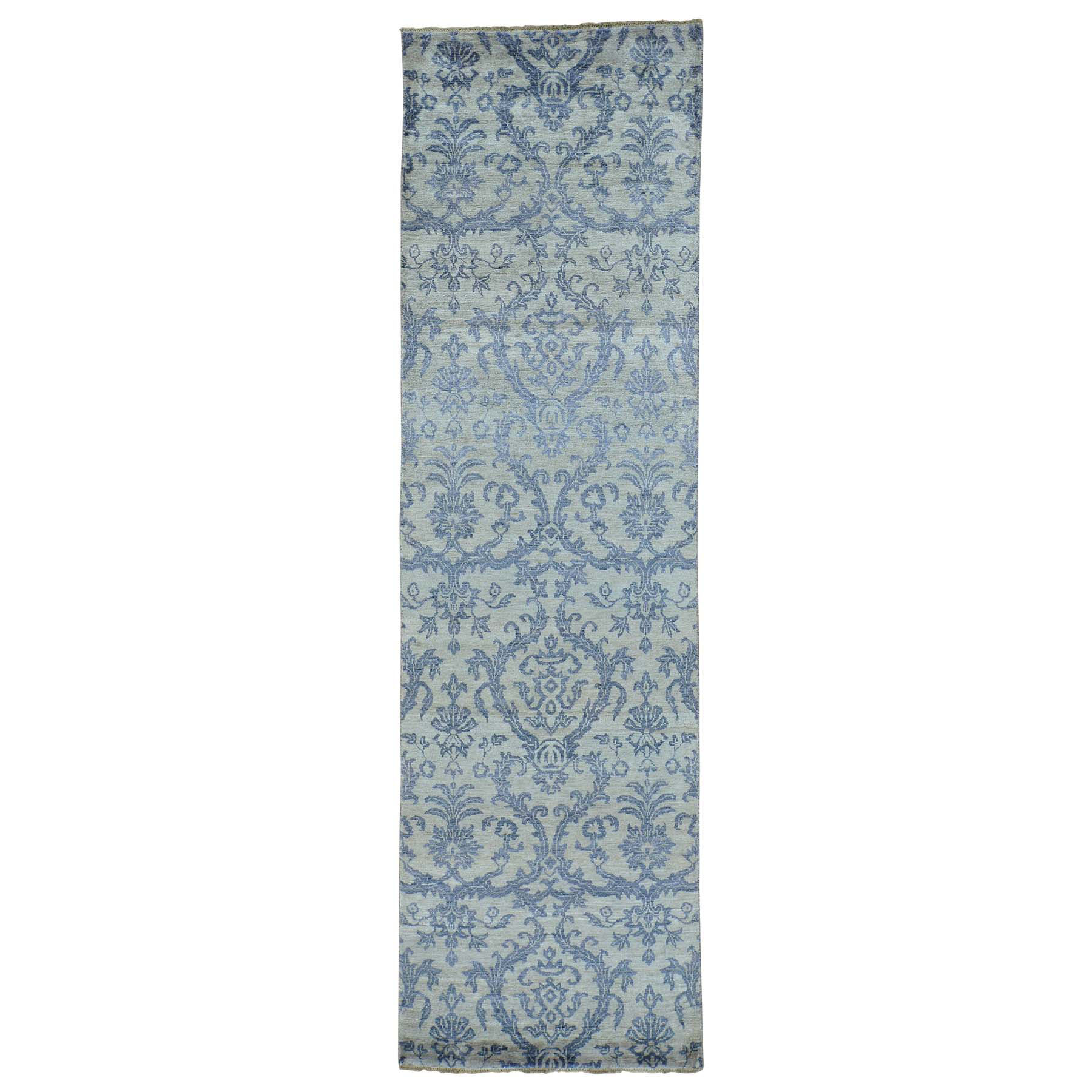 Mid Century Modern Collection Hand Knotted Blue Rug No: 0154816