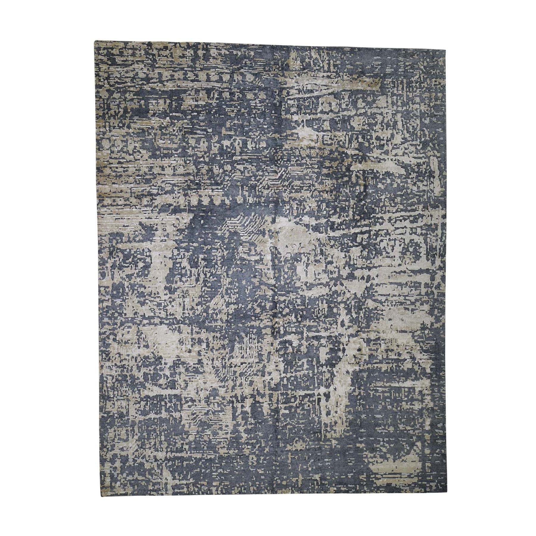 Mid Century Modern Collection Hand Knotted Grey Rug No: 0189428