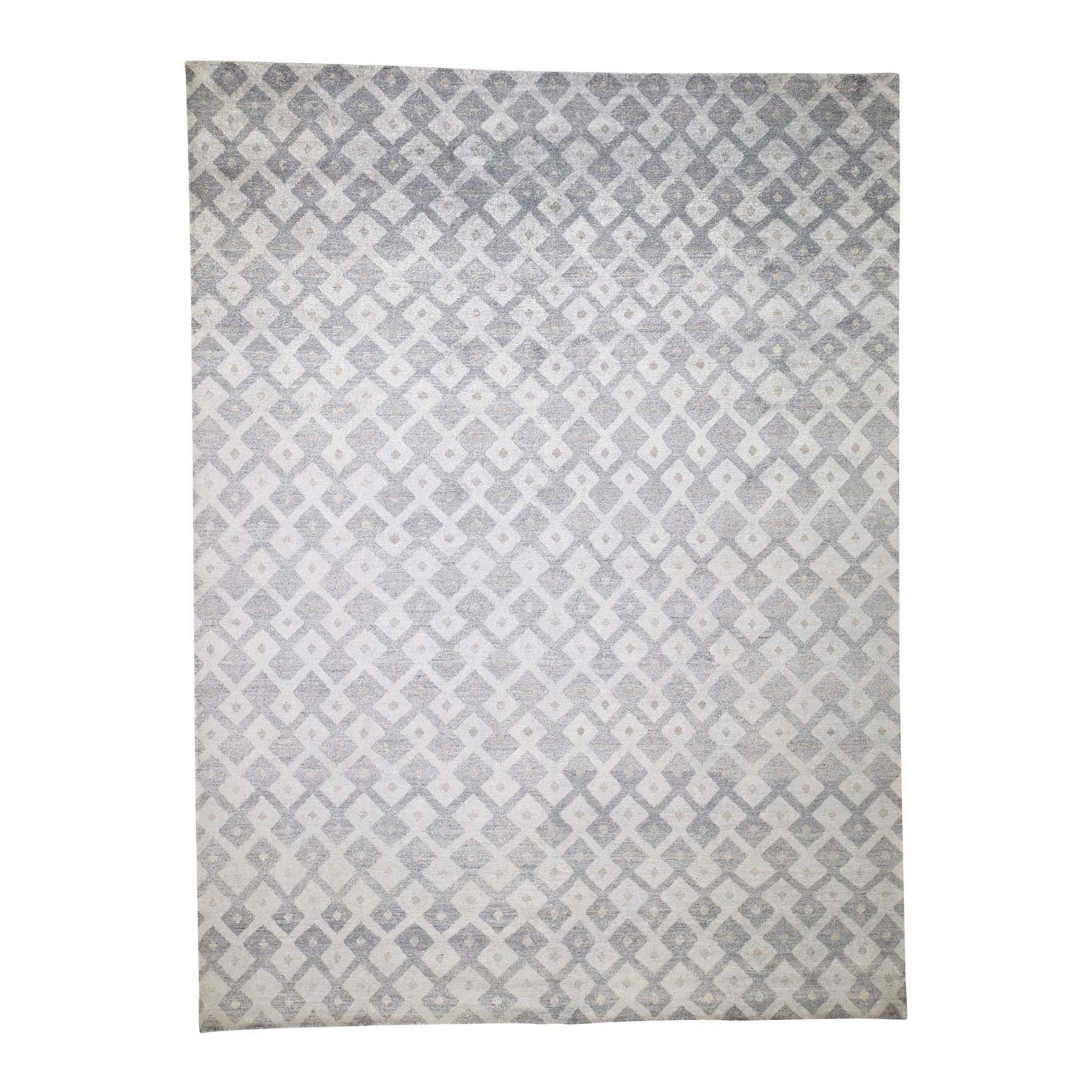 Mid Century Modern Collection Hand Knotted Grey Rug No: 0189416