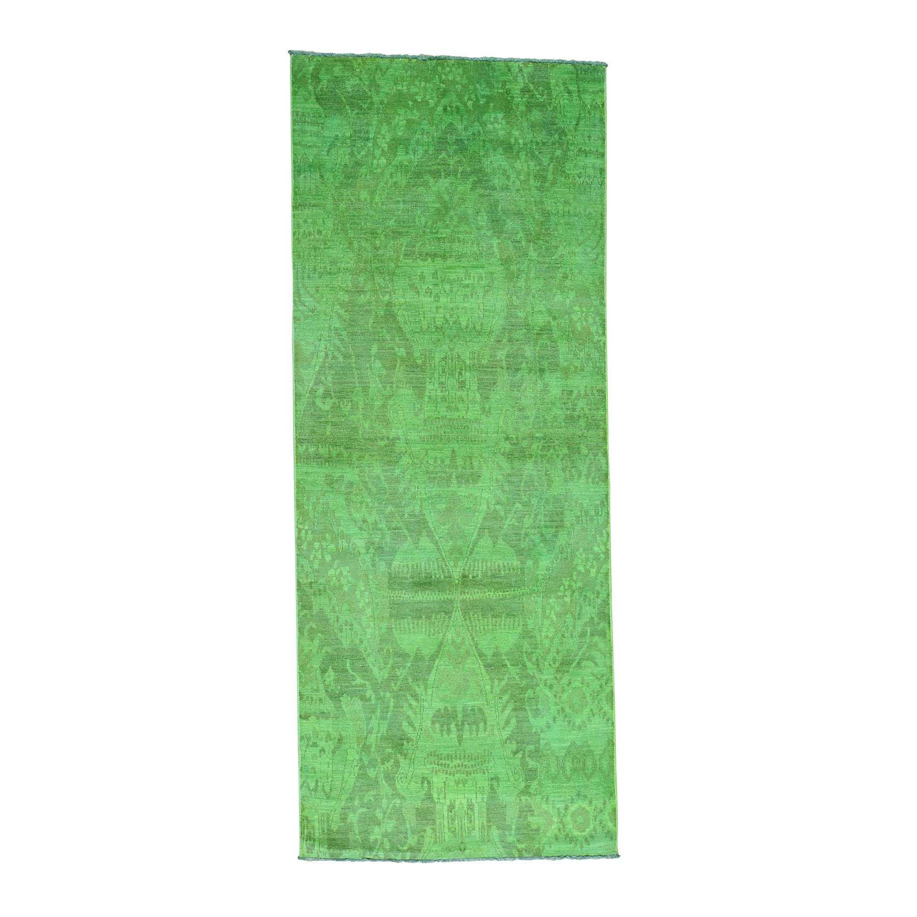 Fetneh Collection And Vintage Overdyed Collection Hand Knotted Green Rug No: 170844