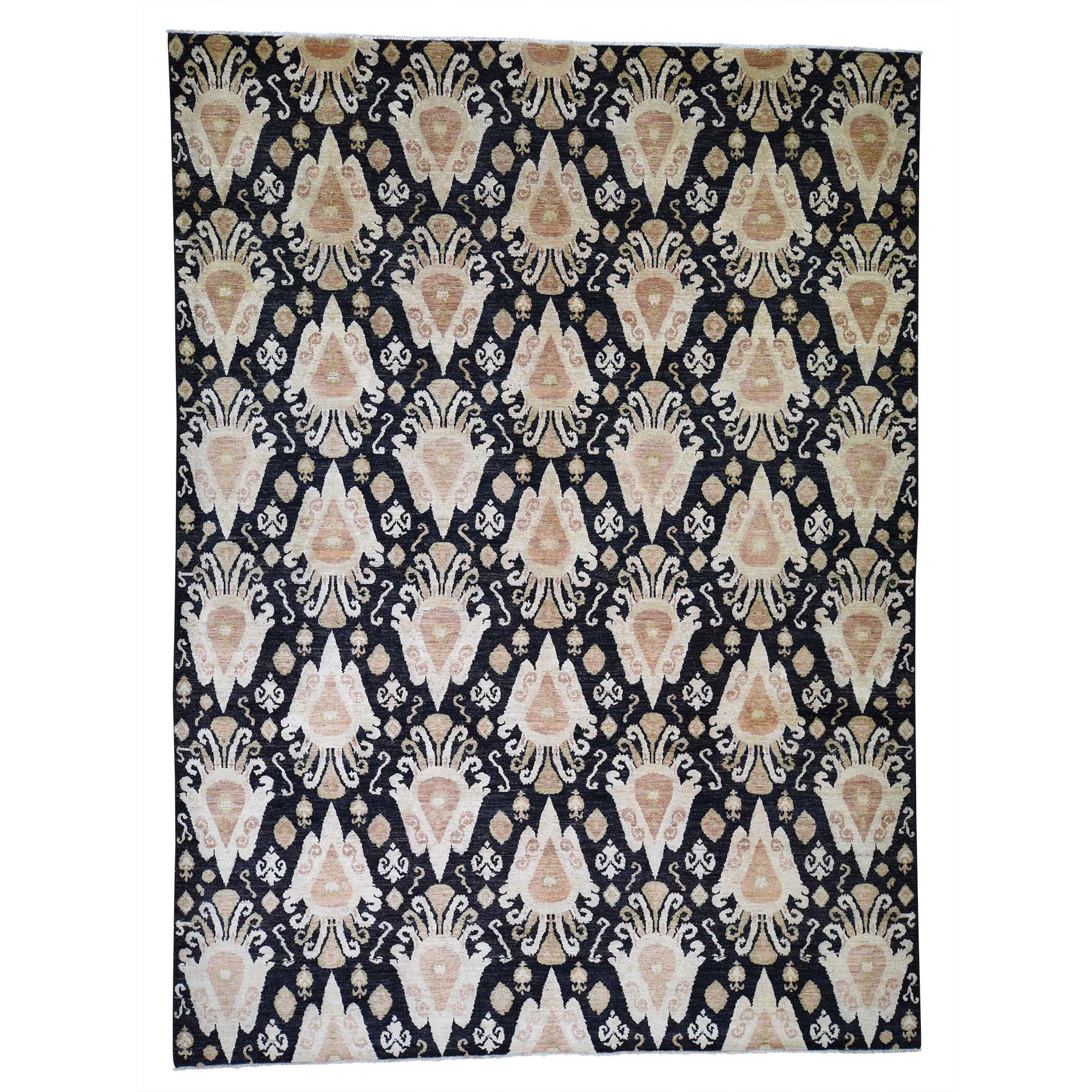 Eclectic and Bohemian Collection Hand Knotted Black Rug No: 0189486