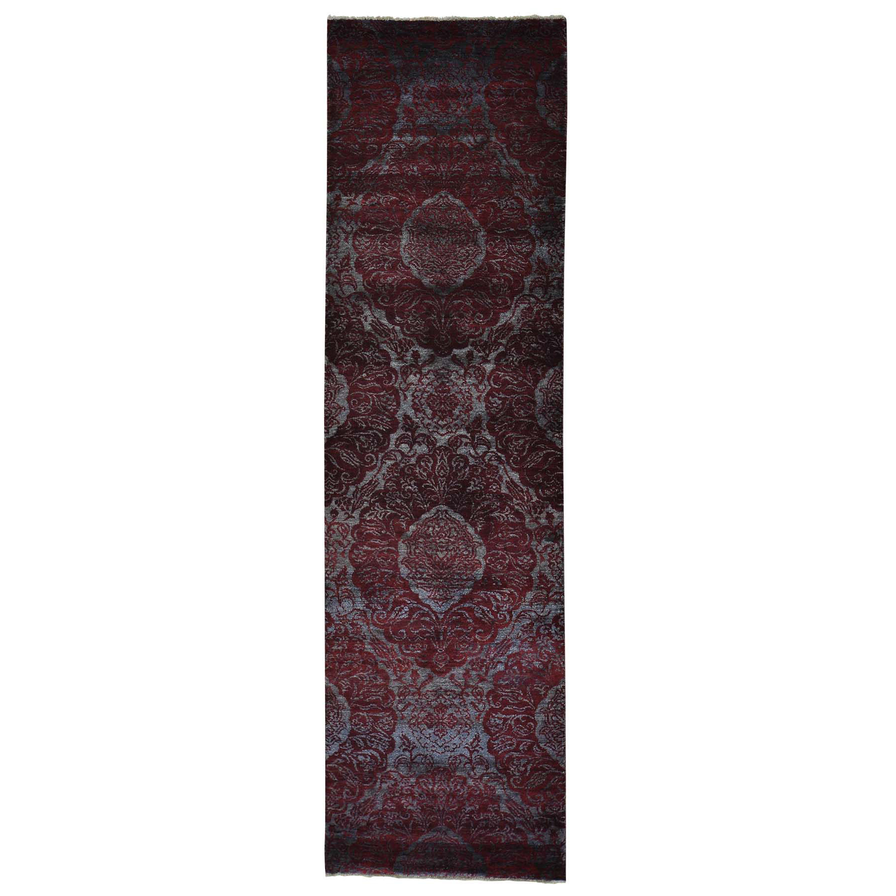 Mid Century Modern Collection Hand Knotted Grey Rug No: 0154900