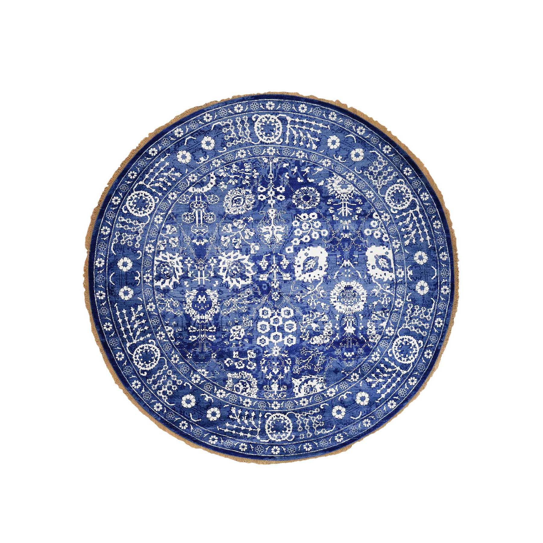 Mid Century Modern Collection Hand Knotted Blue Rug No: 0189764