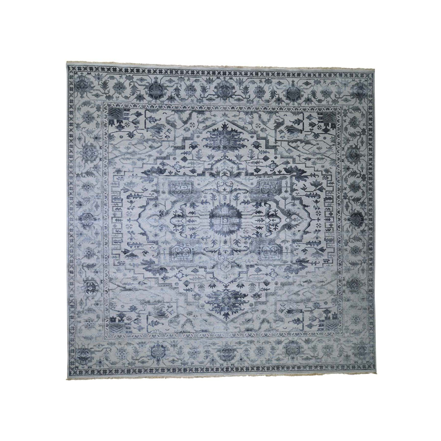 Serapi Heriz and Bakhshayesh Collection Hand Knotted Grey Rug No: 189830
