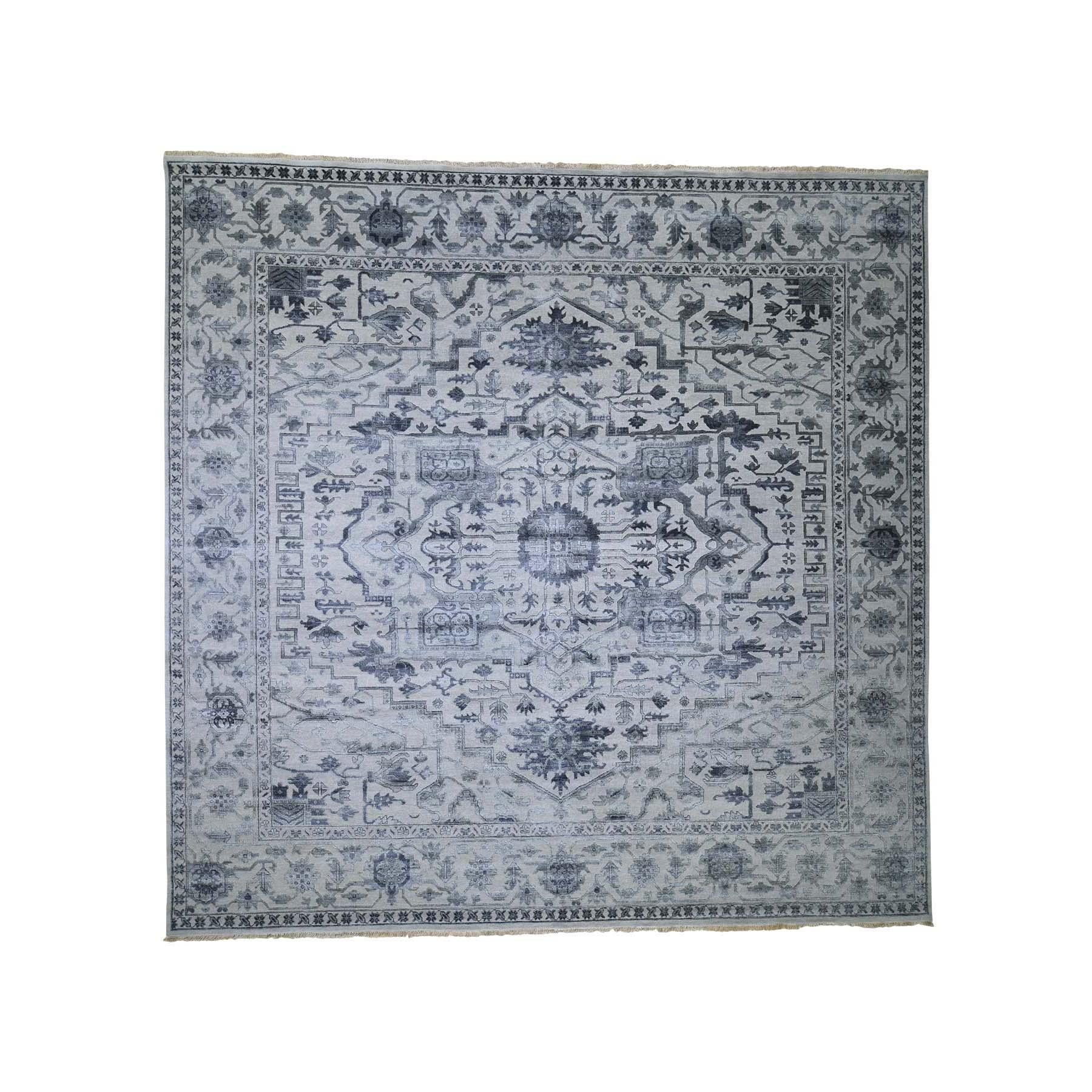 Serapi Heriz and Bakhshayesh Collection Hand Knotted Grey Rug No: 0189830