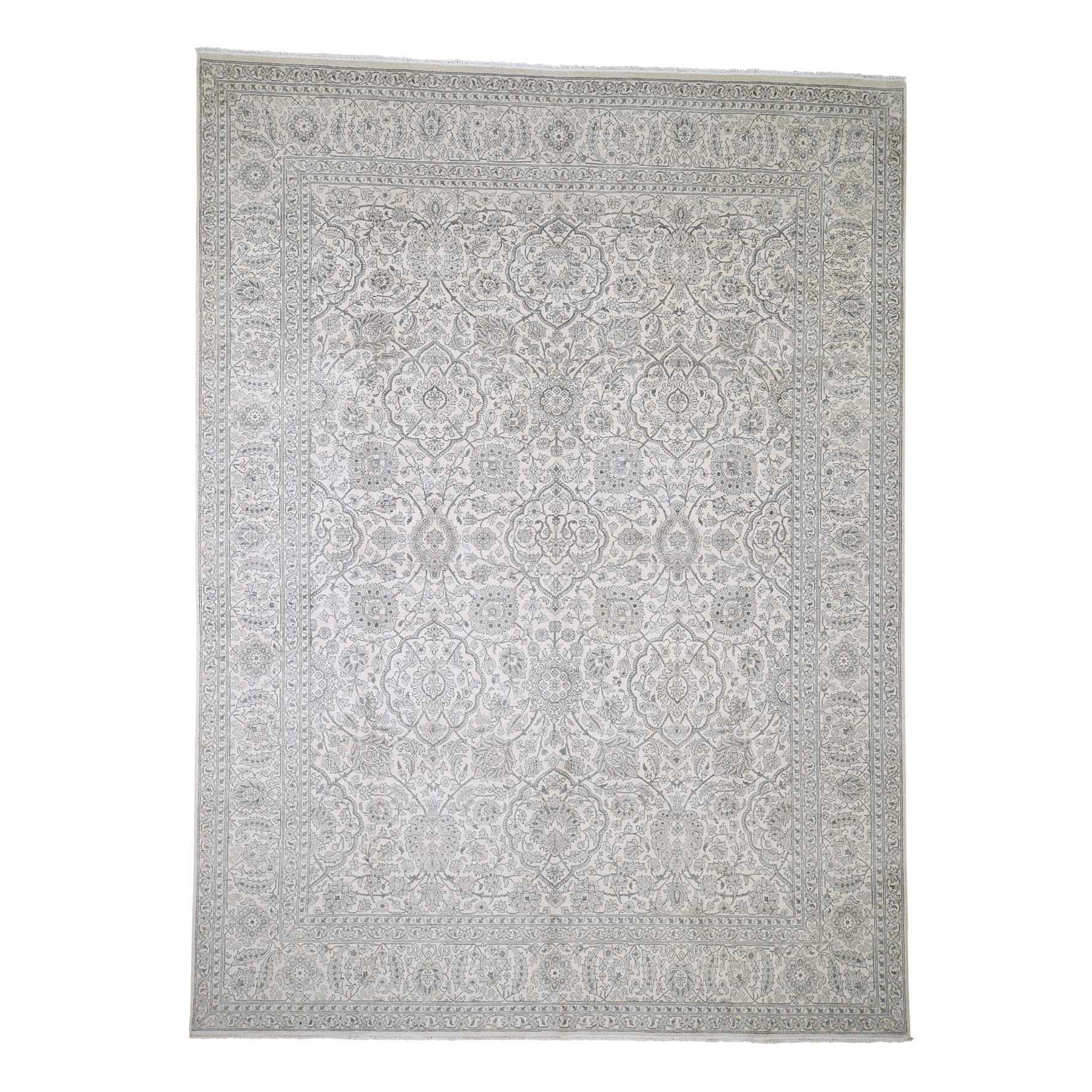 Real Silk Collection Hand Knotted Ivory Rug No: 190242