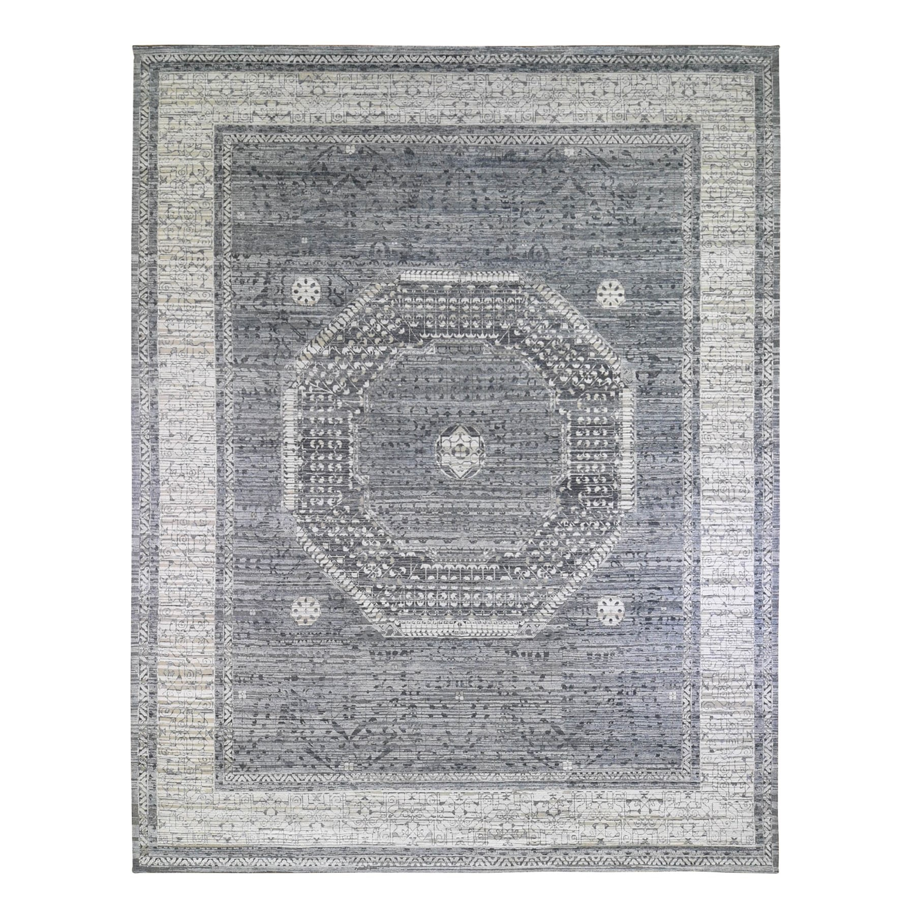 Transitional Hand Knotted Grey Rug No: 1132964